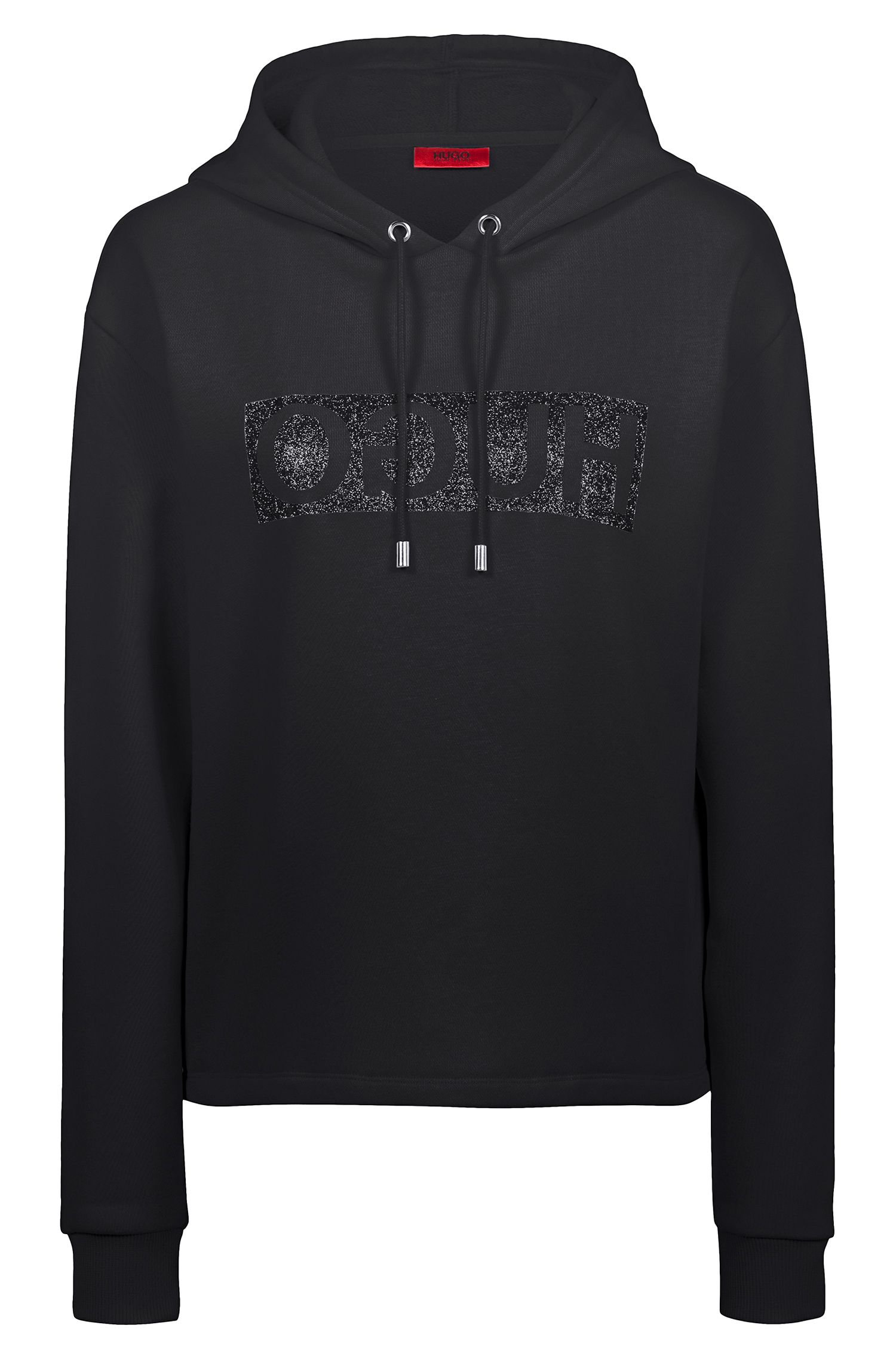 Relaxed-fit hoodie in cotton jersey with reverse logo, Black