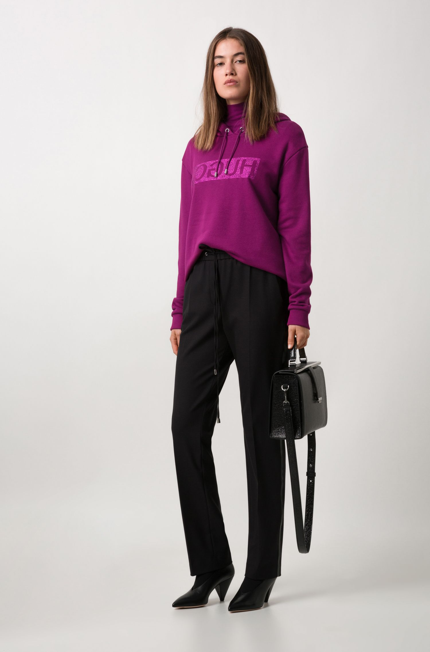 Relaxed-fit hoodie in cotton jersey with reverse logo, Purple