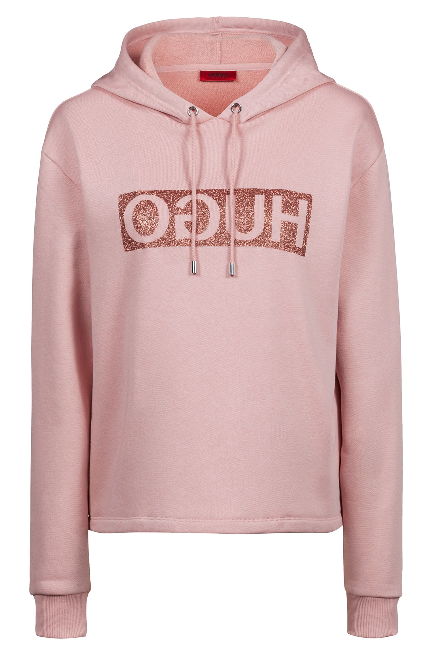 Relaxed-fit hoodie in cotton jersey with reverse logo, Pink
