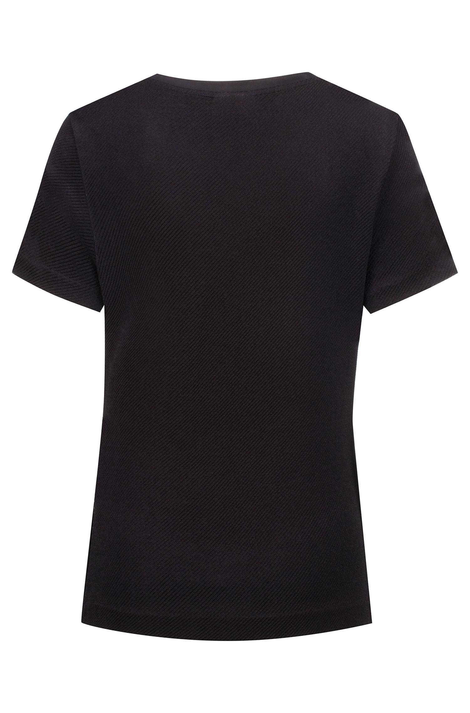 Slim-fit top van jersey met stretch en biesdetail, Zwart