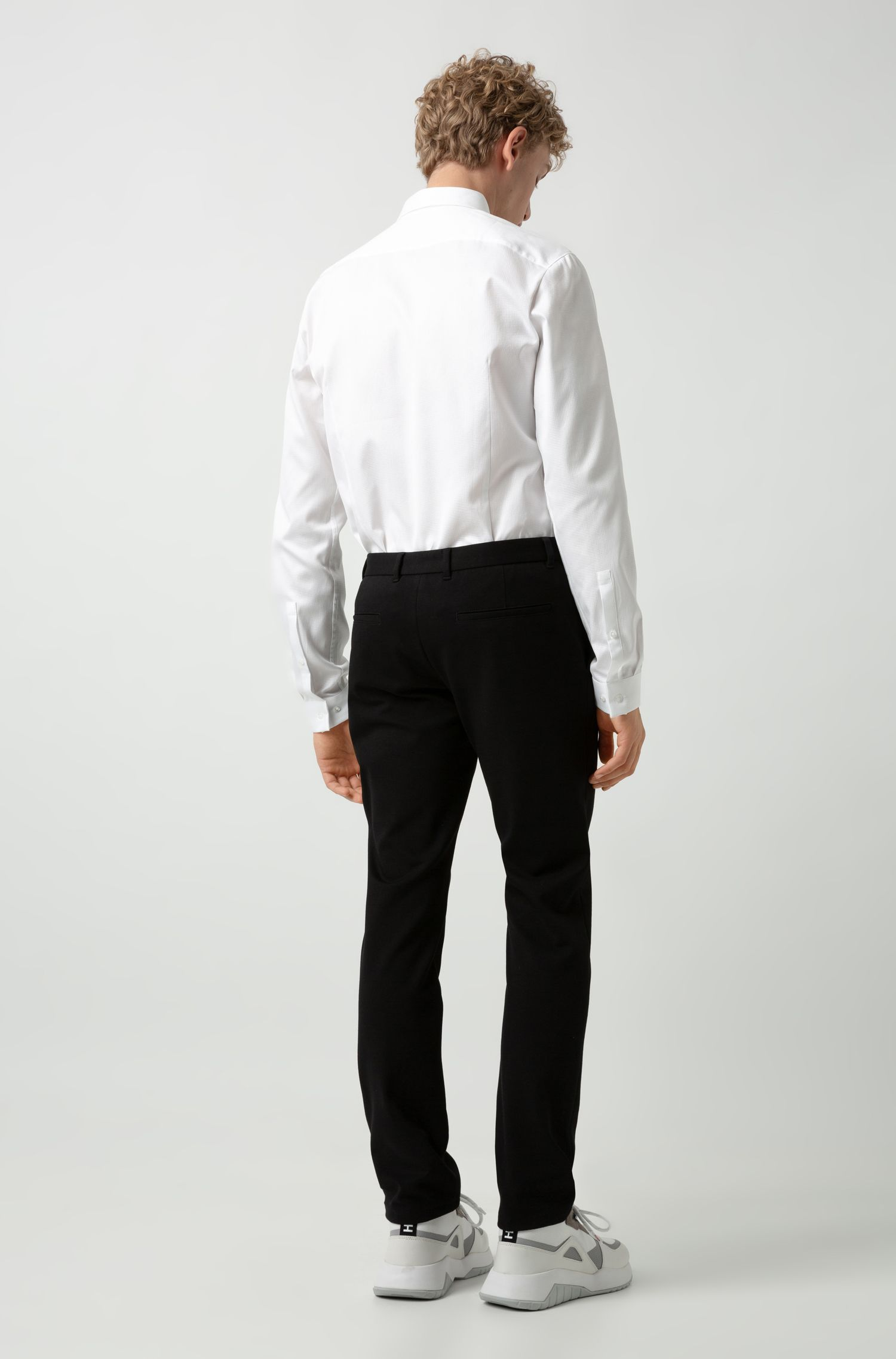 Extra-slim-fit stretch-jersey trousers, Black