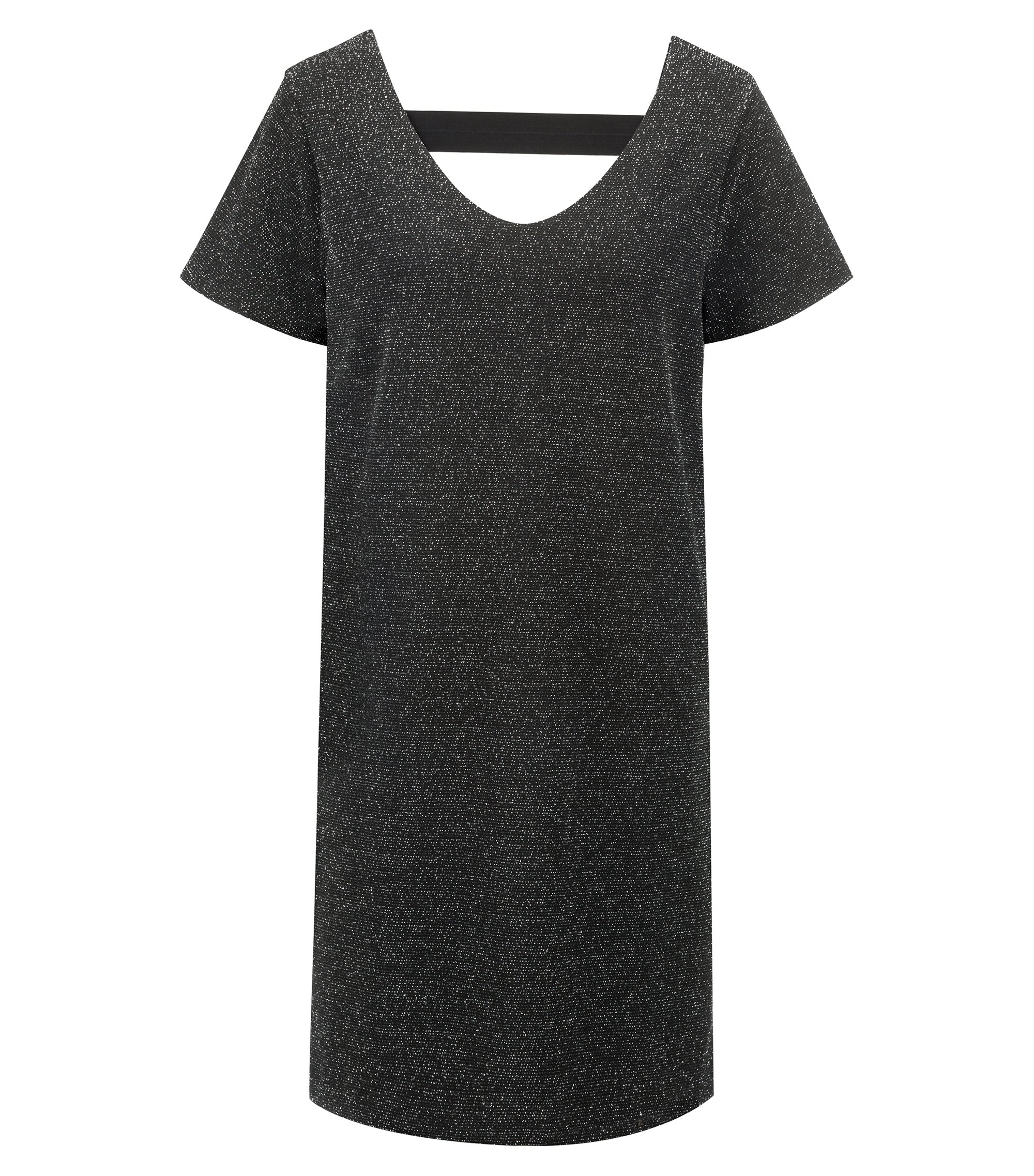 Relaxed-fit dress in sparkly stretch-jersey fabric, Black