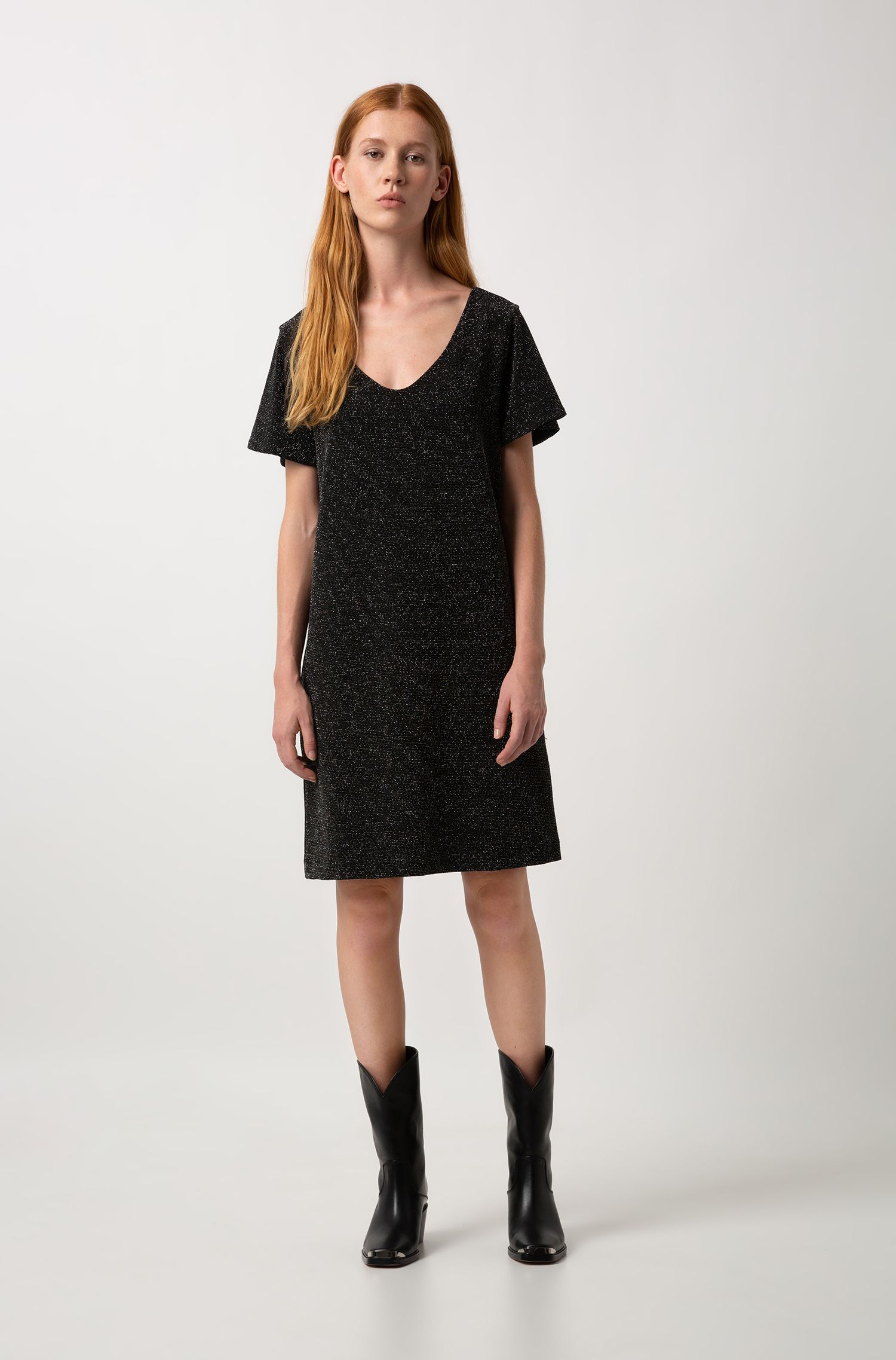 Robe Relaxed Fit en jersey stretch brillant, Noir