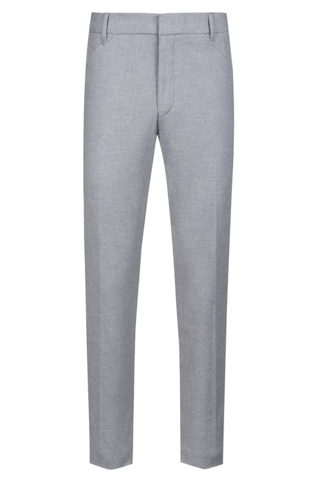 Slim-fit trousers in melange stretch cotton, Light Grey