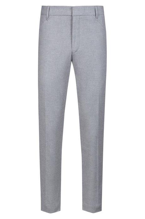 Slim-Fit Hose aus melierter Stretch-Baumwolle, Hellgrau