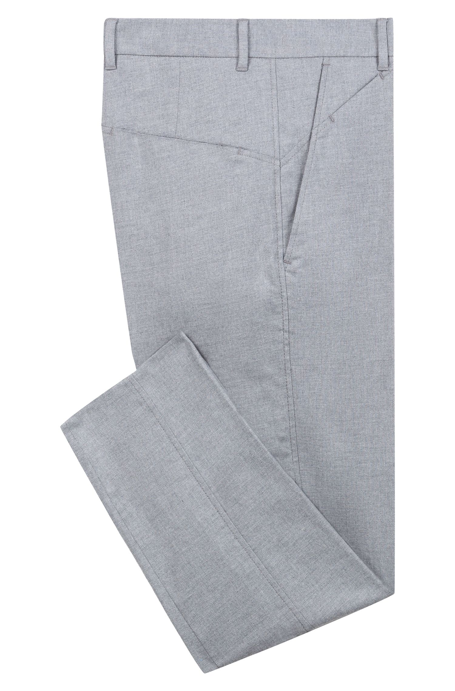 Pantalon Slim Fit en coton stretch chiné, Gris chiné