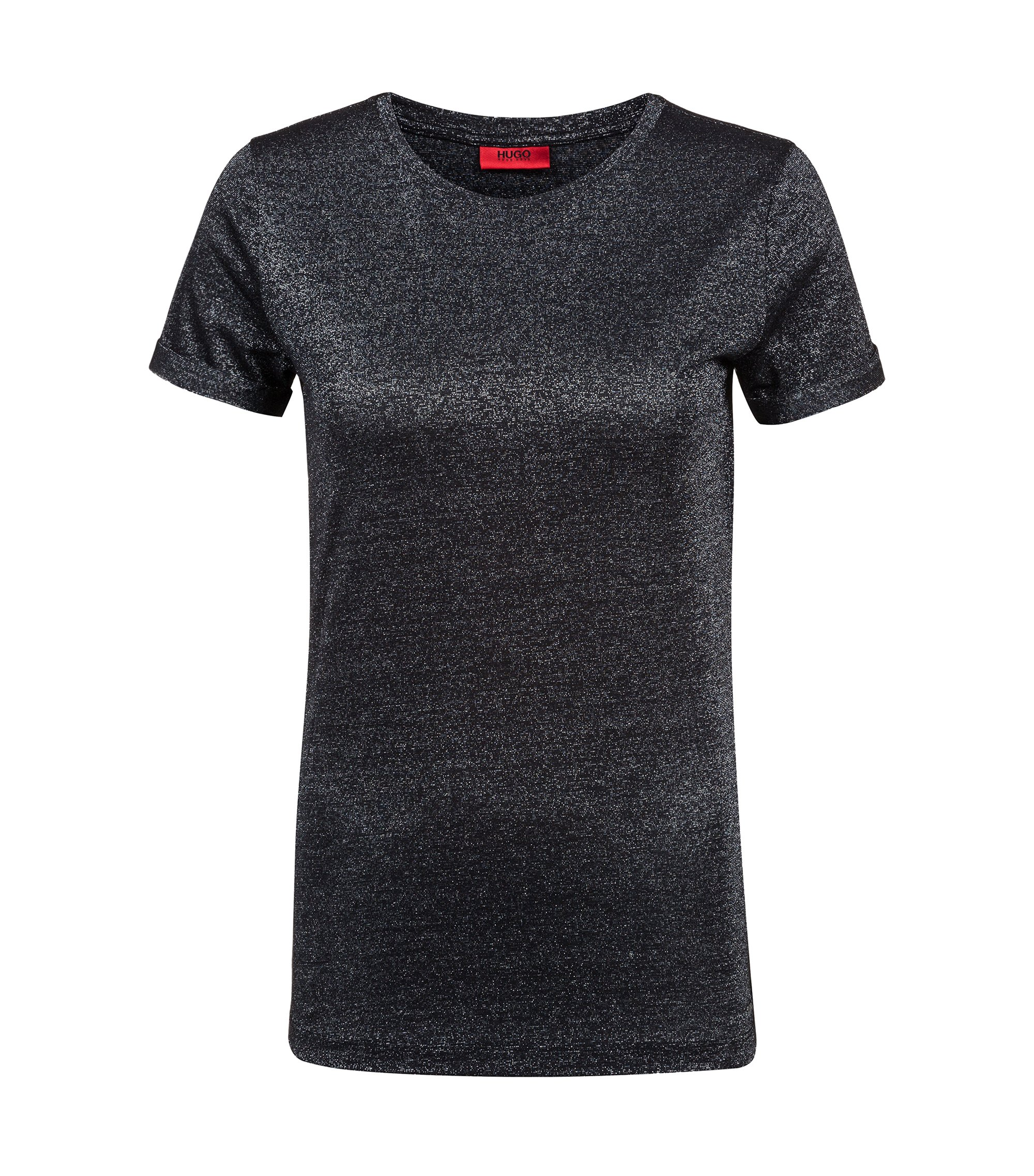 Slim-fit T-shirt in sparkly stretch-jersey fabric, Black