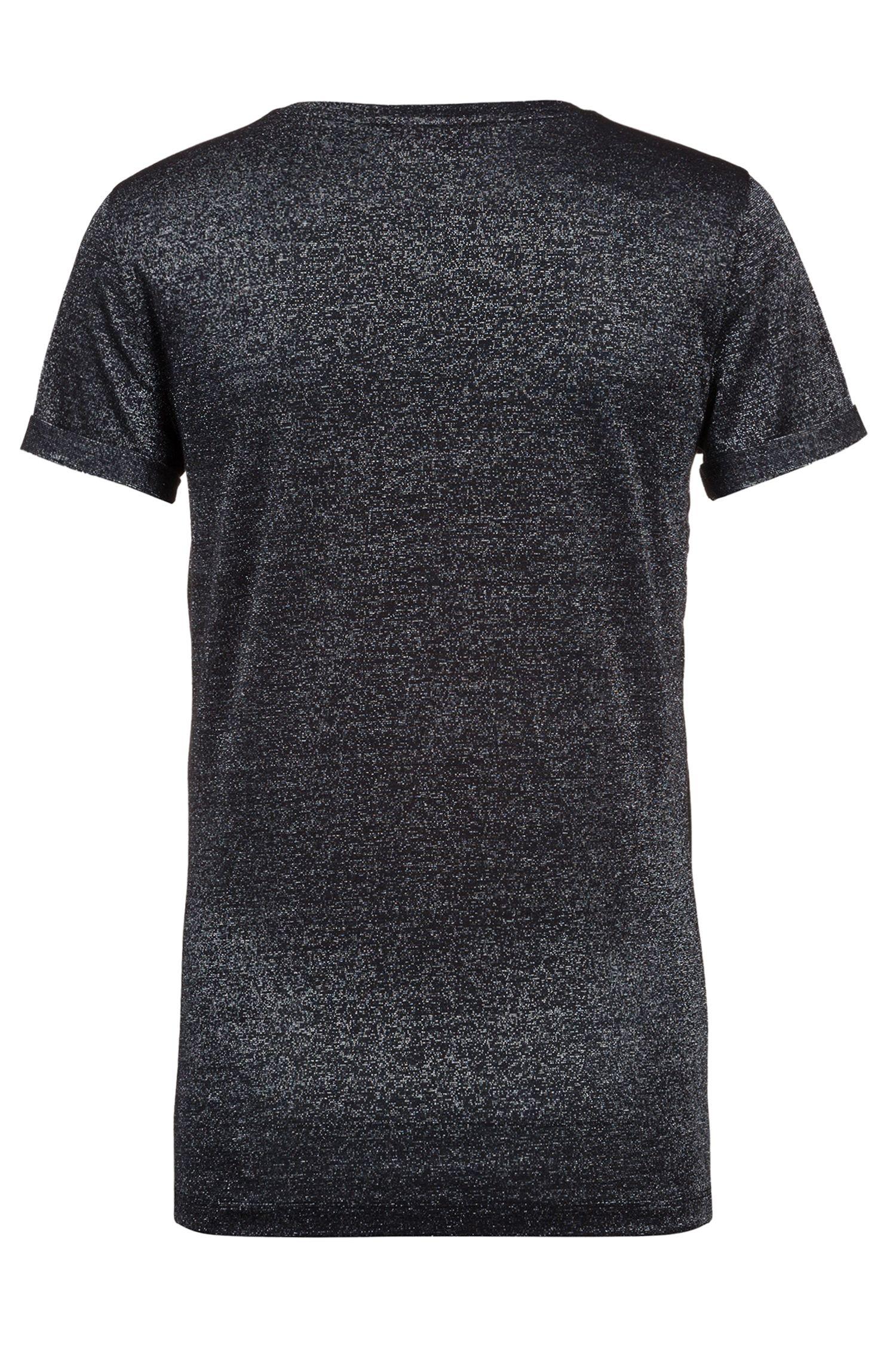 Slim-fit T-shirt van glinsterend jerseymateriaal met stretch, Zwart