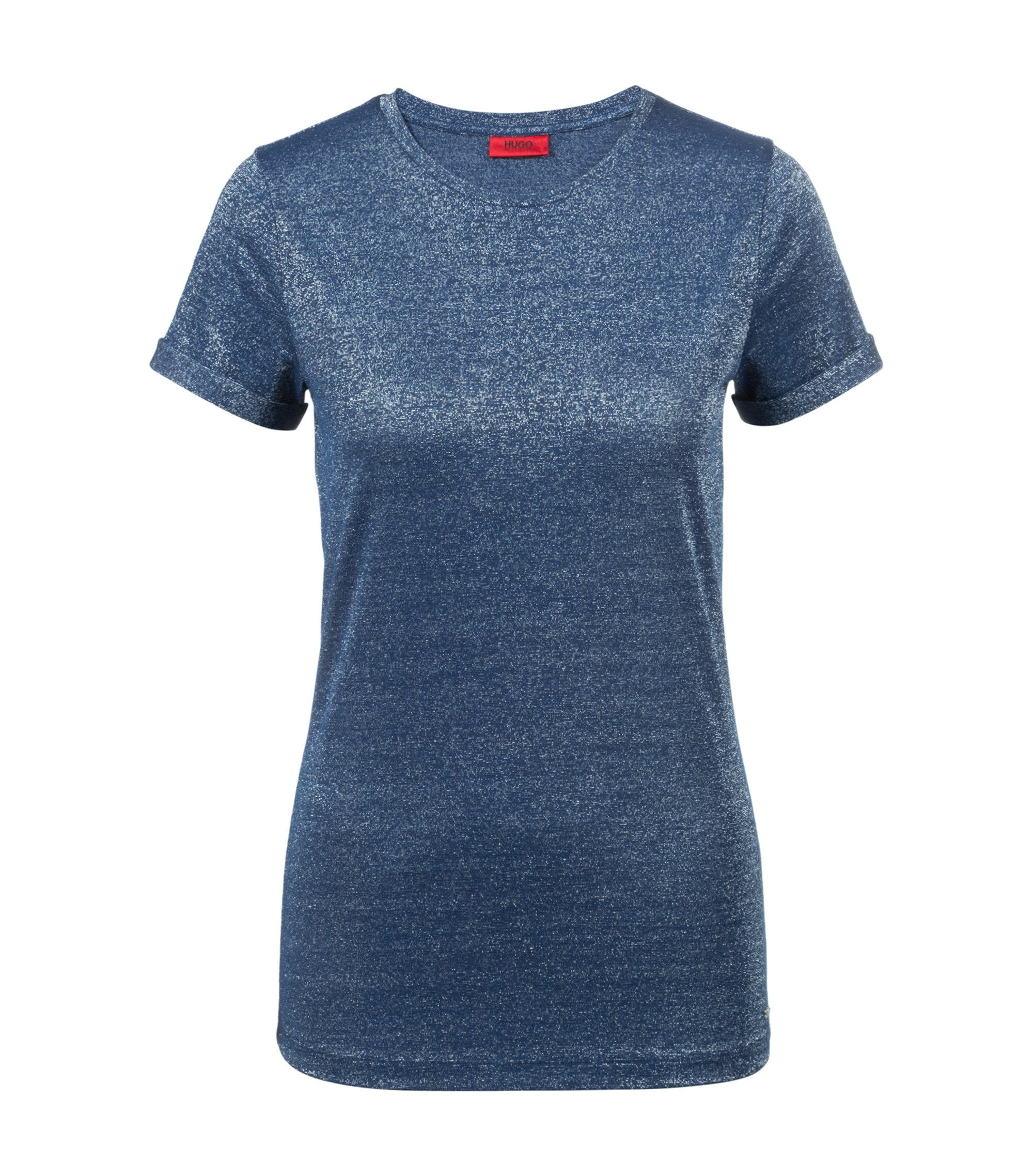 Slim-fit T-shirt in sparkly stretch-jersey fabric, Open Blue