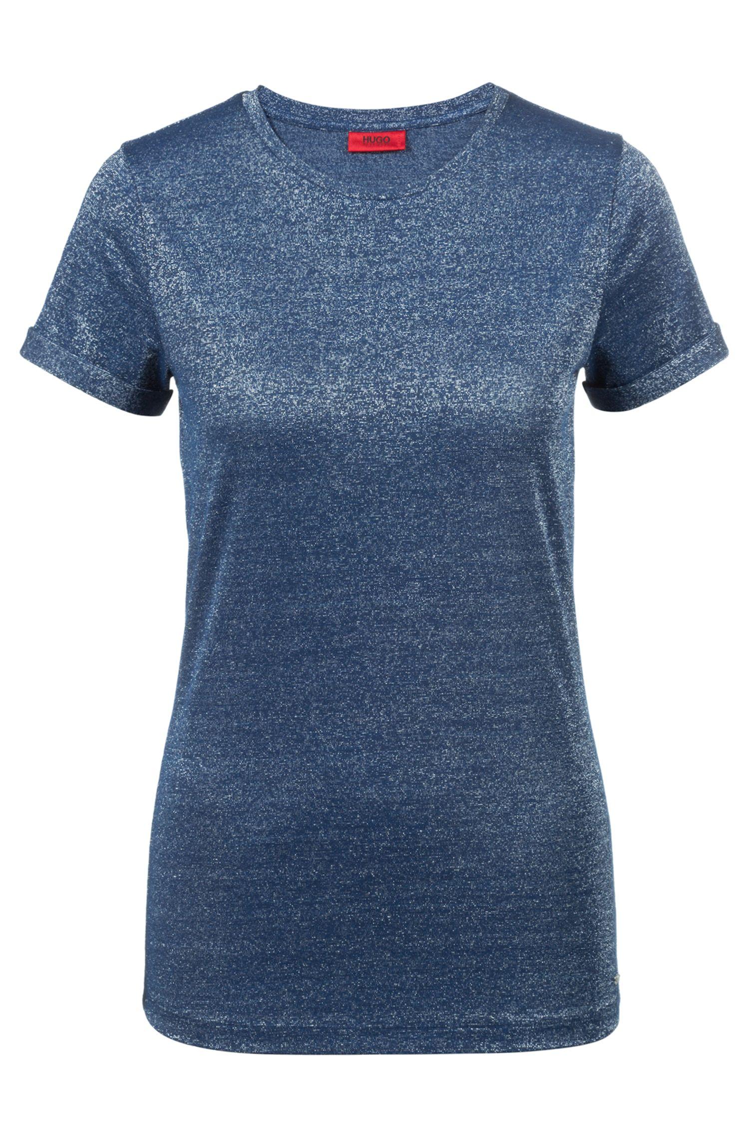Camiseta slim fit en tejido de punto elástico brillante, Celeste