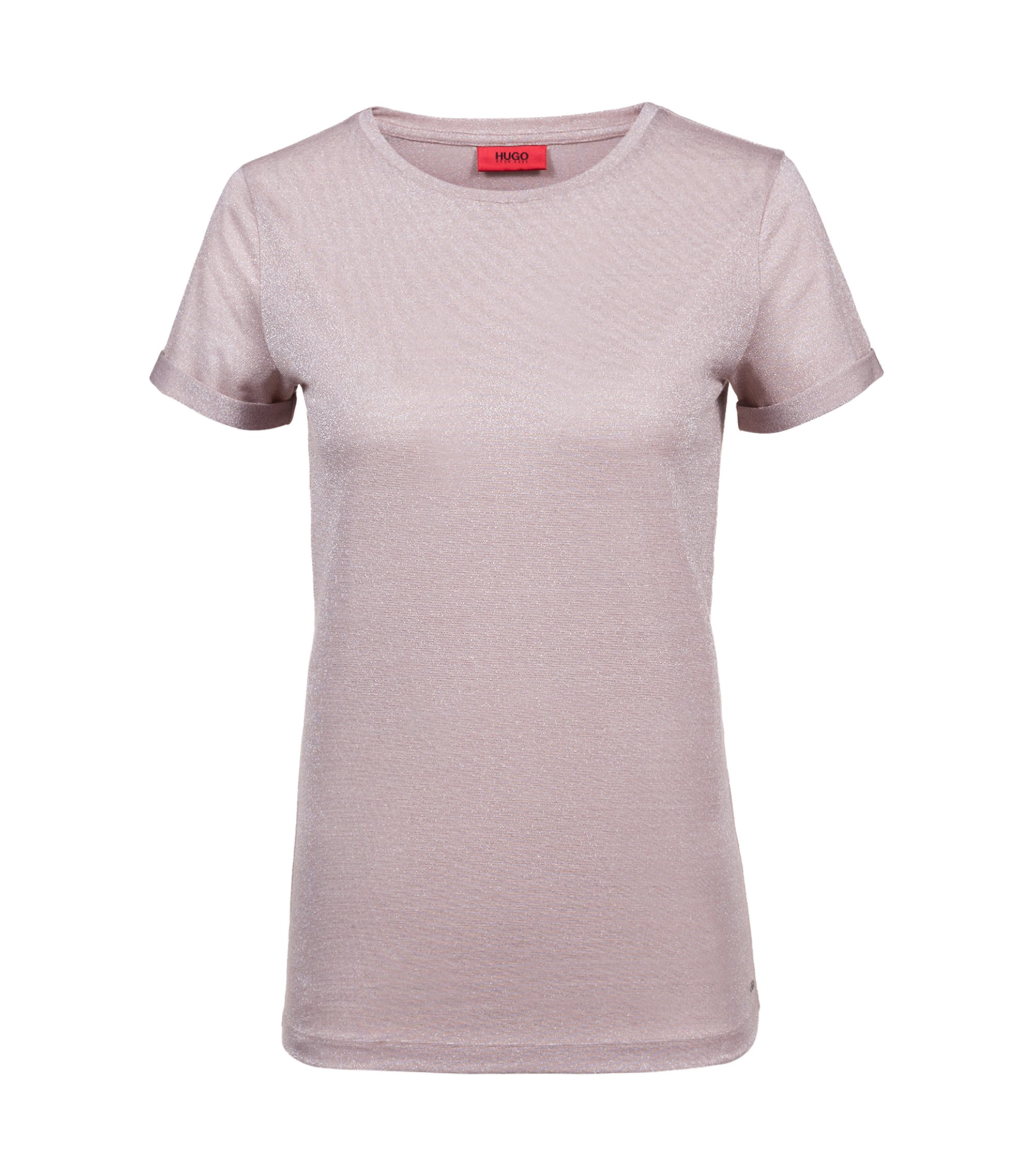 T-shirt Slim Fit en jersey stretch brillant, Rose clair
