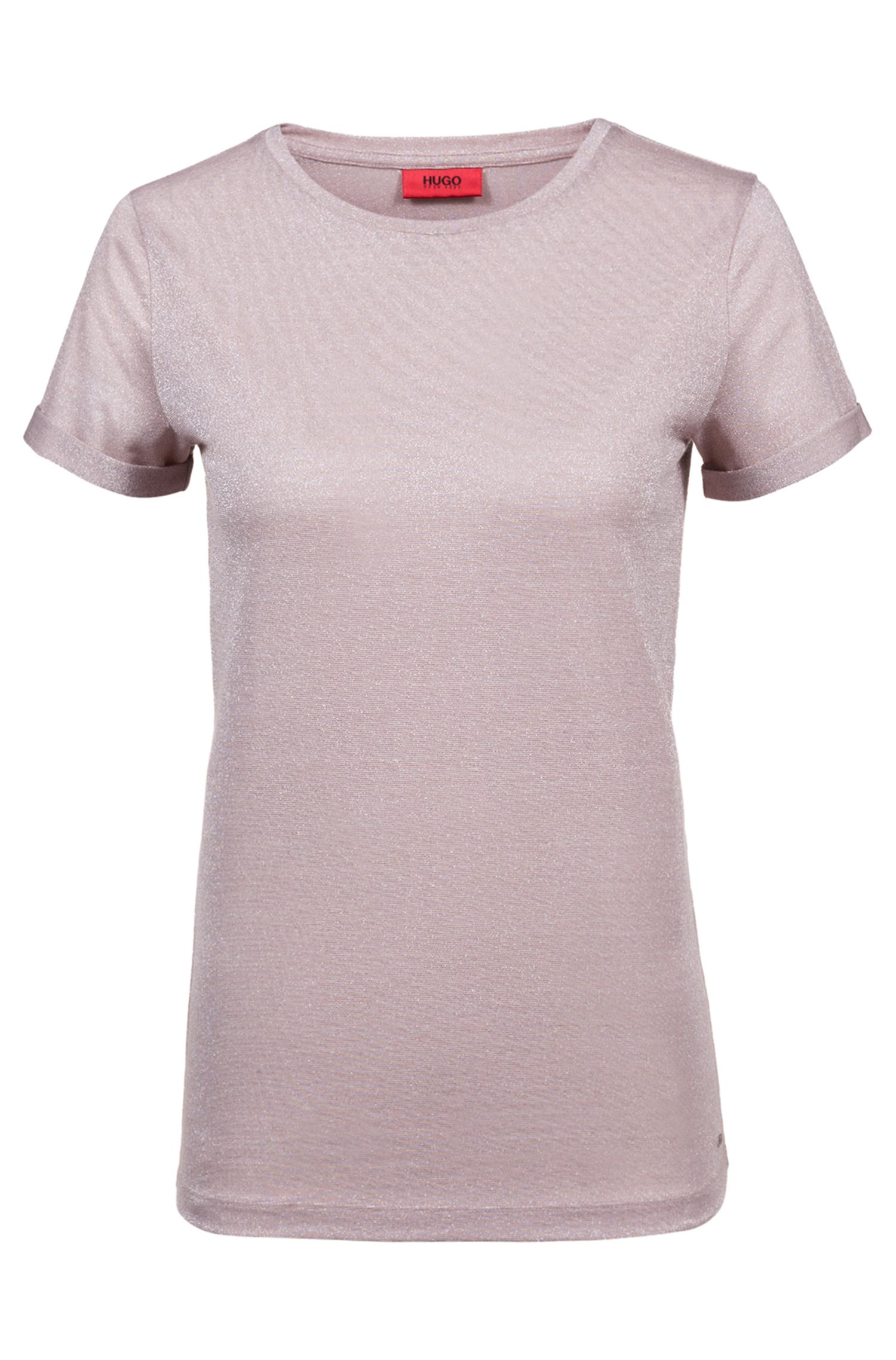 Slim-fit T-shirt in sparkly stretch-jersey fabric, Open Pink