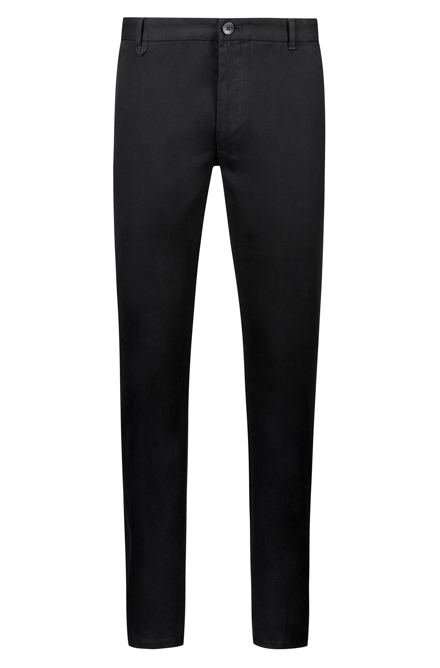 Extra-slim-fit trousers in structured stretch cotton, Black