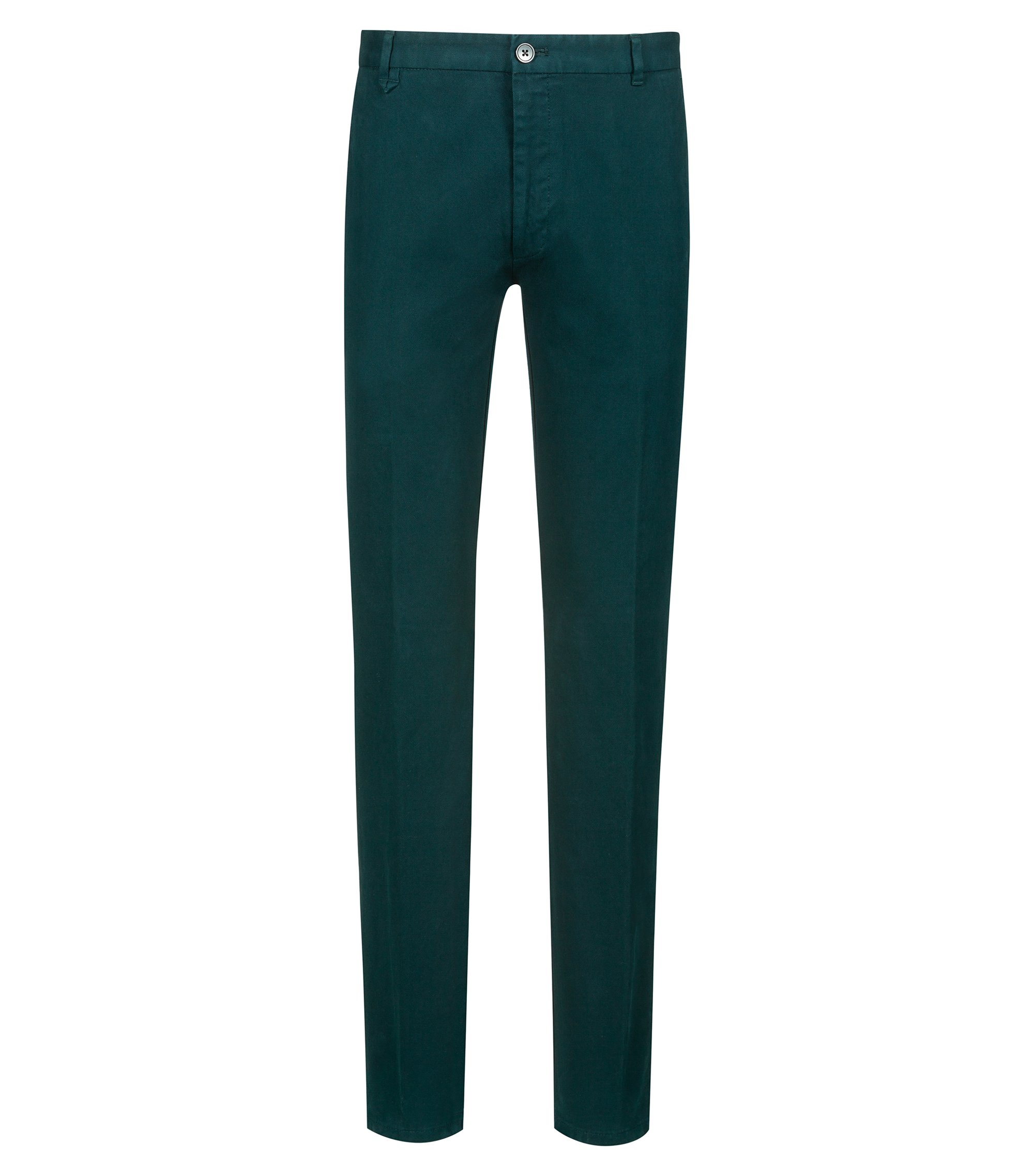 Pantalon Extra Slim Fit en coton stretch structuré, Vert sombre