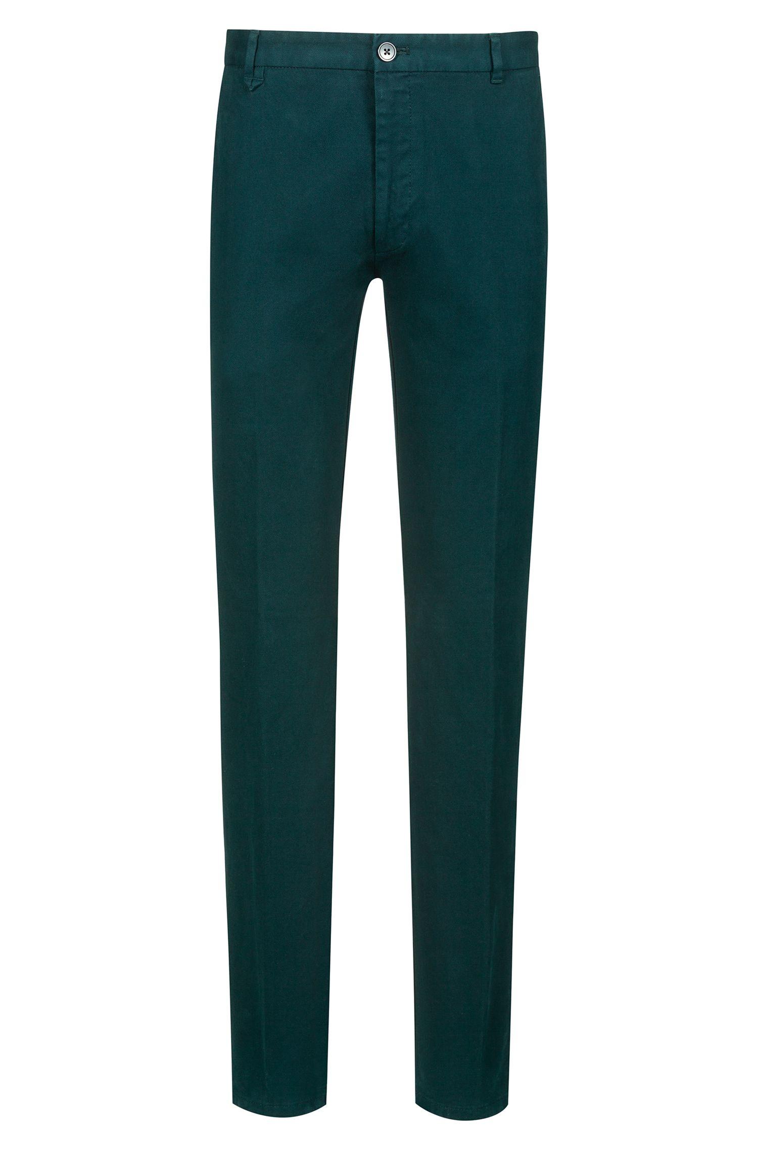 Extra slim-fit broek van gestructureerde stretchkatoen, Donkergroen