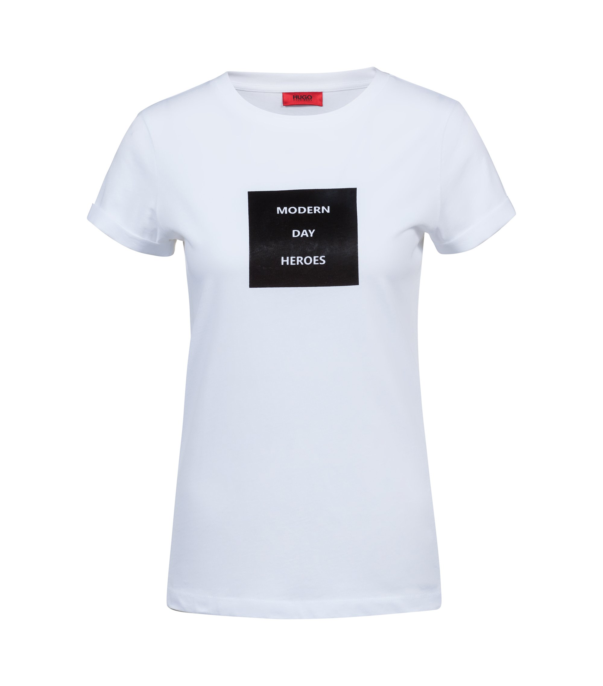 T-shirt Slim Fit en coton à l'imprimé slogan de la collection, Blanc