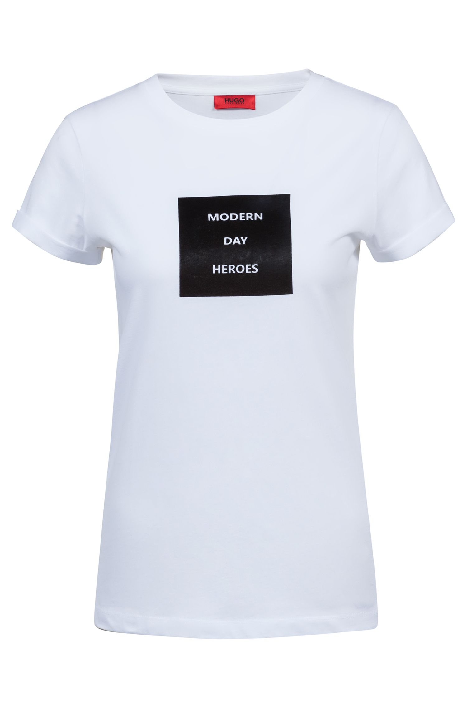 Slim-fit T-shirt in cotton with collection slogan print, White