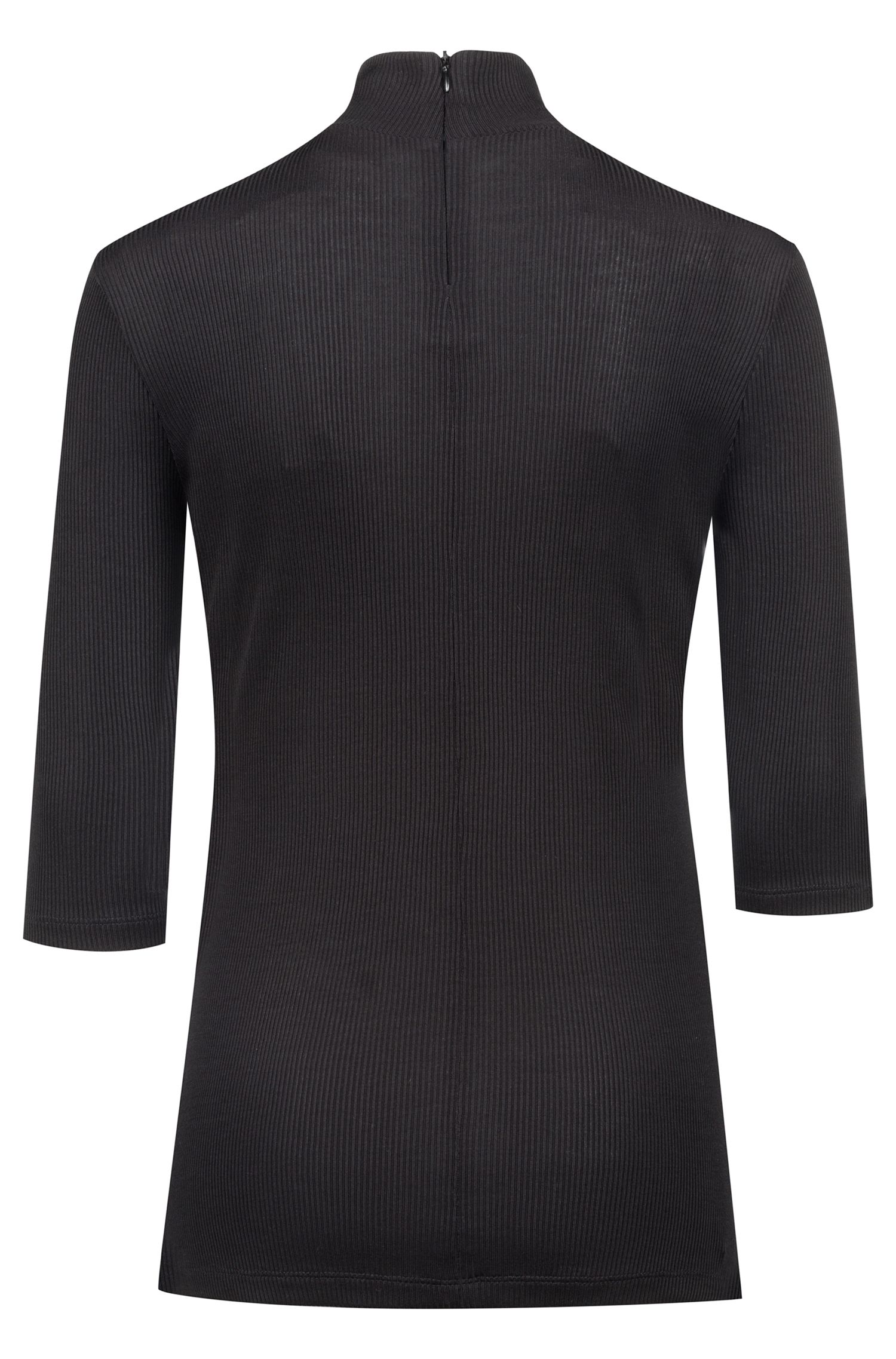 Slim-fit jersey top with turtleneck and short sleeves, Black