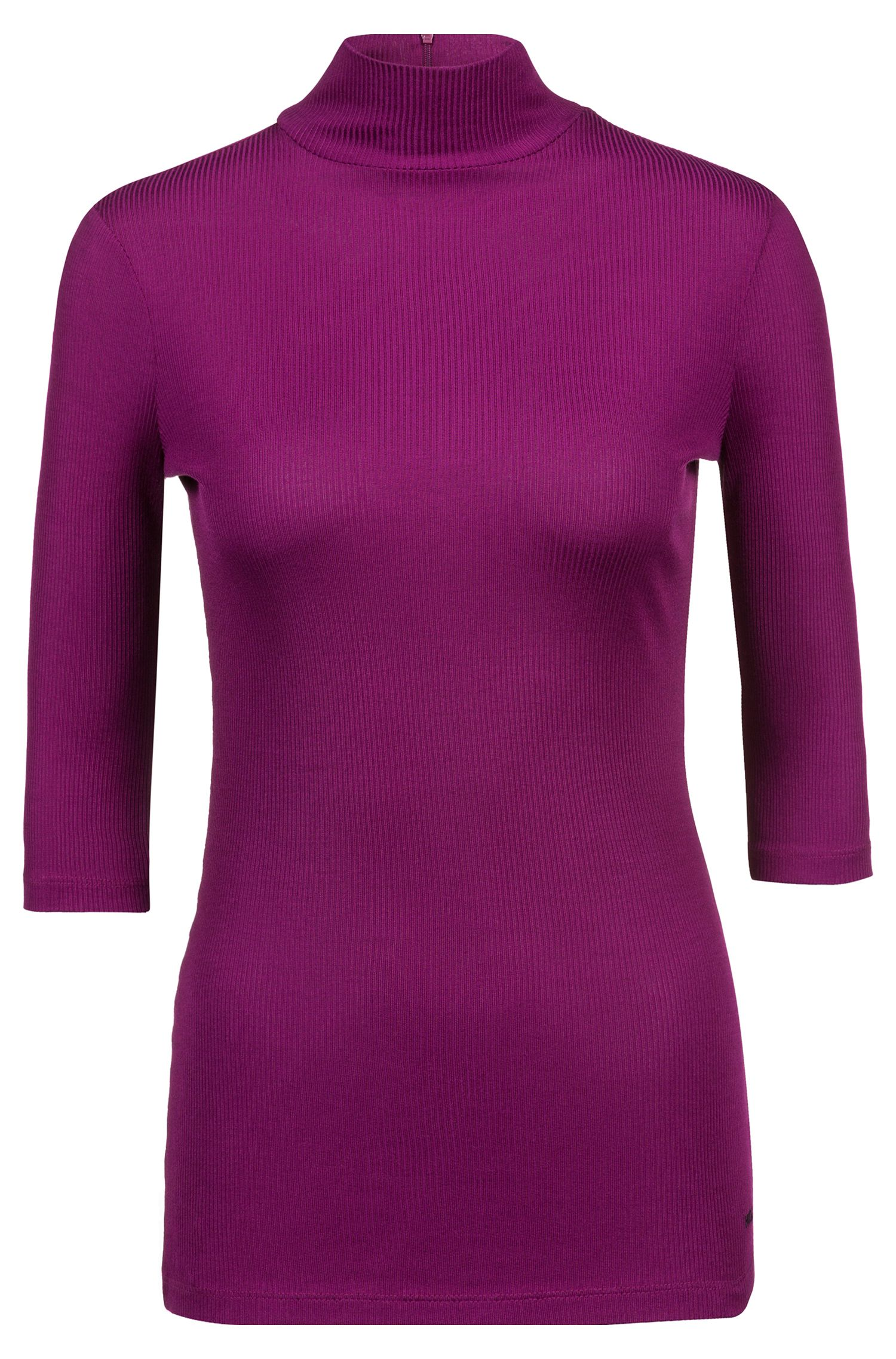 Slim-fit jersey top with turtleneck and short sleeves, Purple