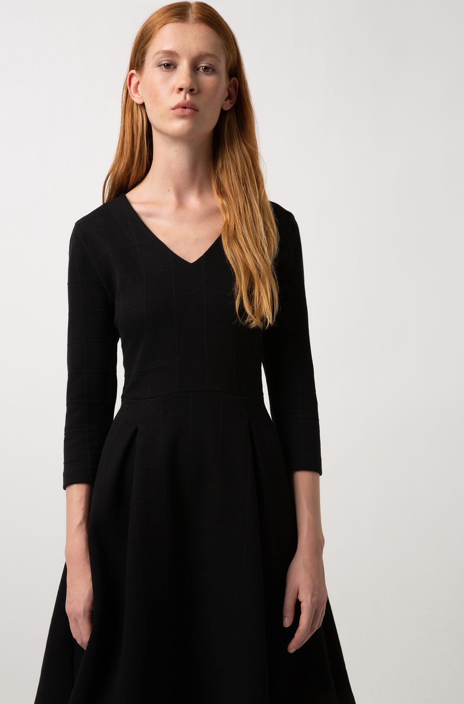 Slim-fit dress in cotton jersey with tonal squares, Black