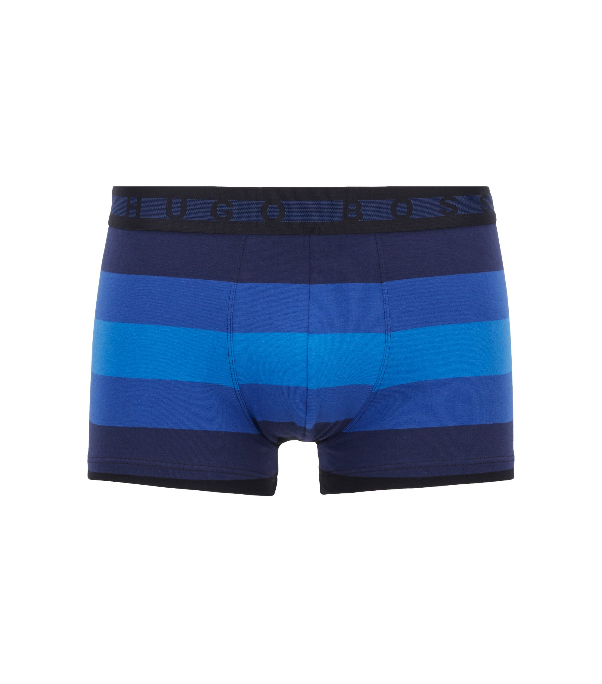 Boxer court à rayures larges en jersey de coton stretch, Bleu foncé