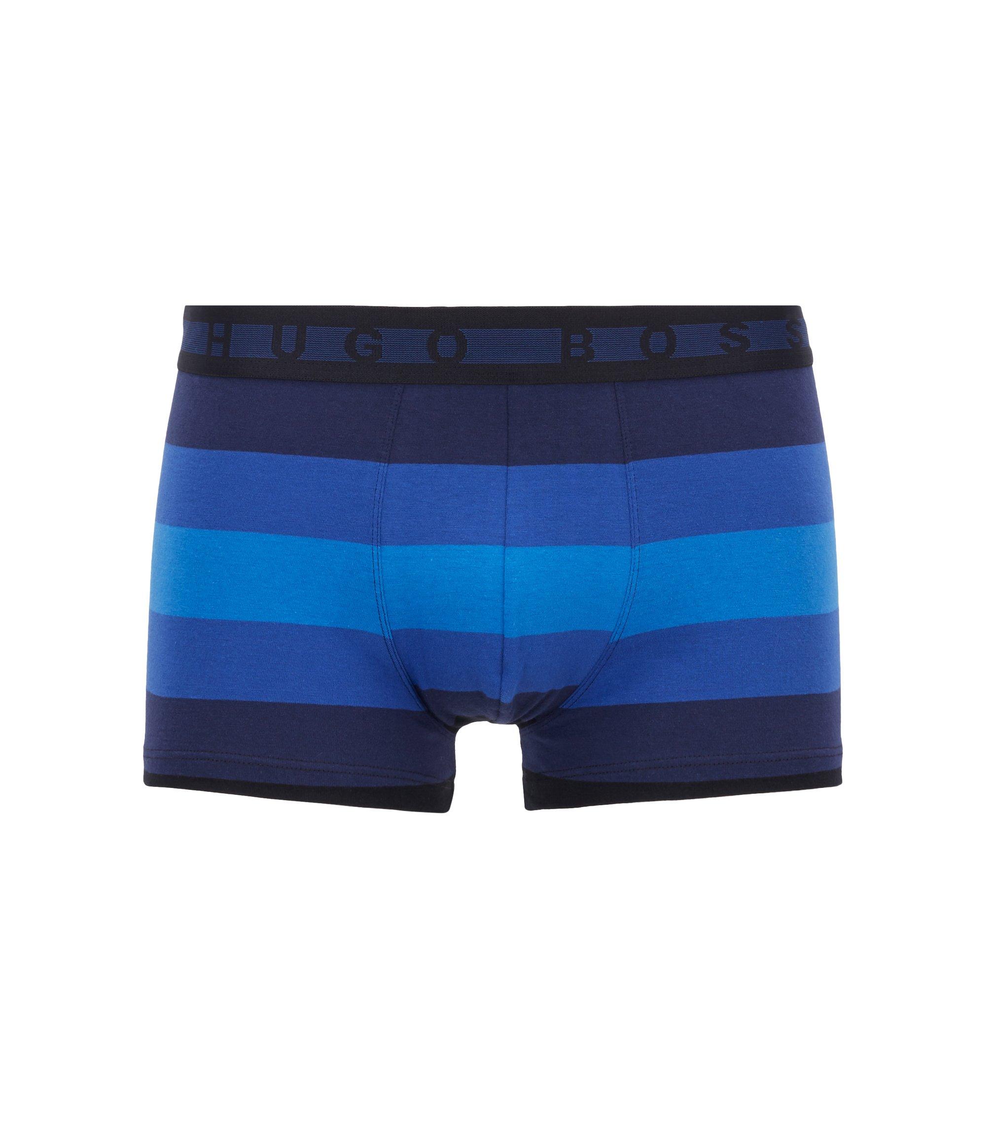 Block-stripe trunks in stretch-cotton jersey, Dark Blue