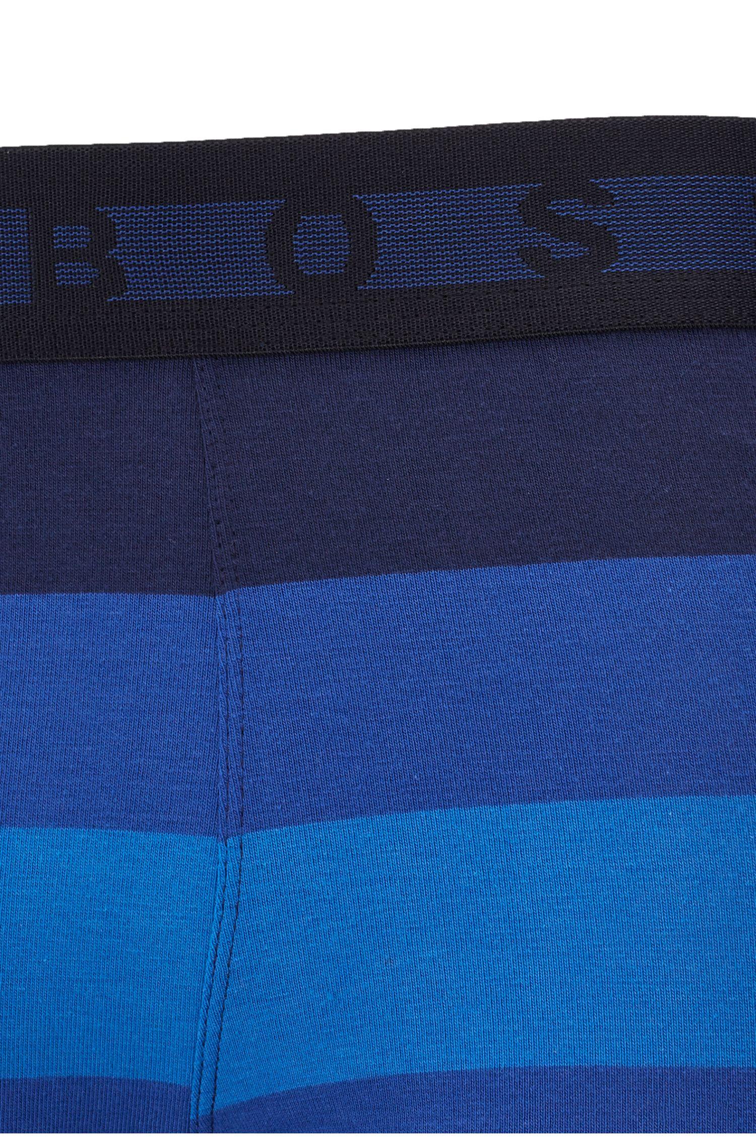 Calzoncillos en punto de algodón elástico con rayas anchas, Azul oscuro