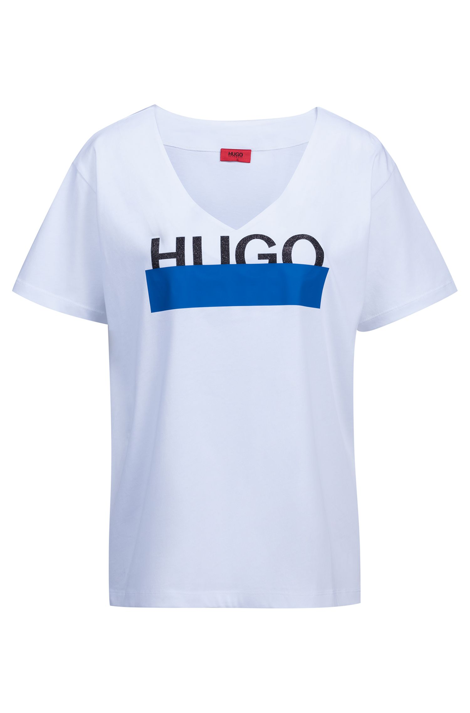 Camiseta relaxed fit en algodón con logo estampado brillante , Blanco