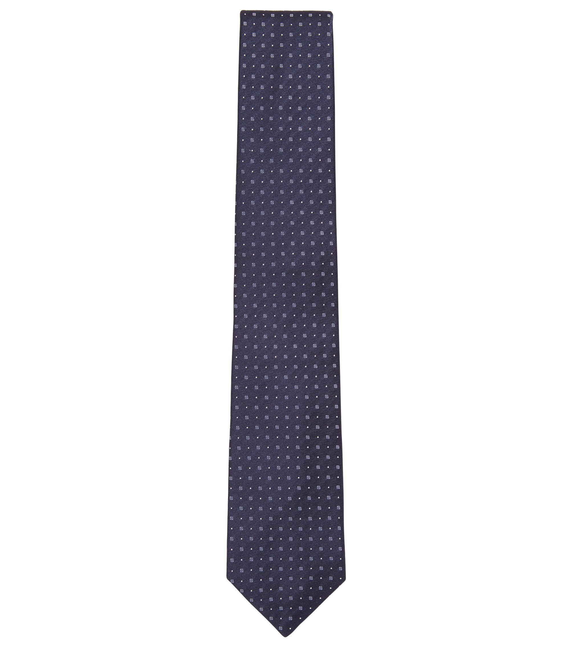 Italian-made silk tie with jacquard motif, Dark Blue