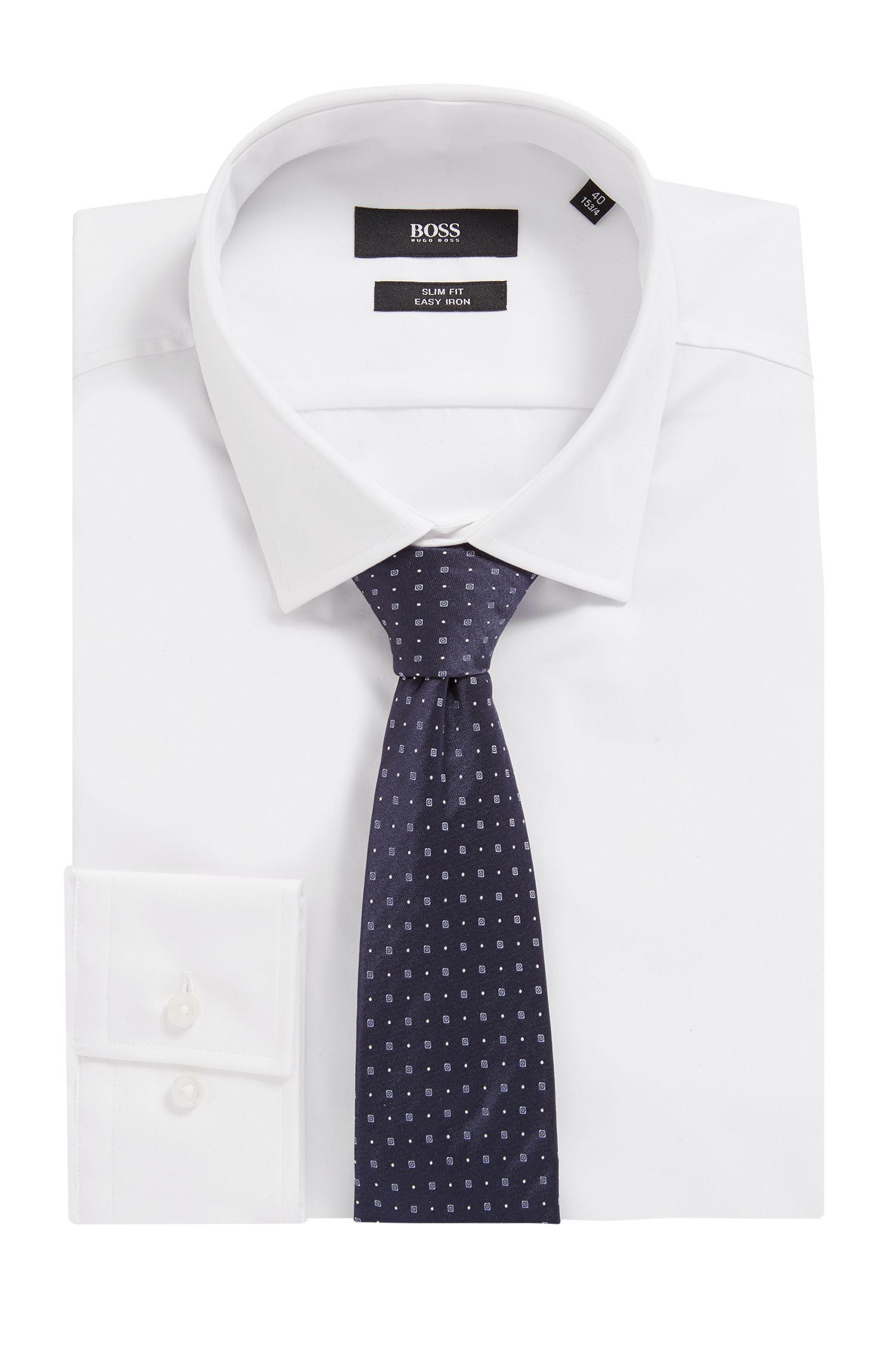Cravate en soie confectionnée en Italie à motif jacquard, Bleu foncé