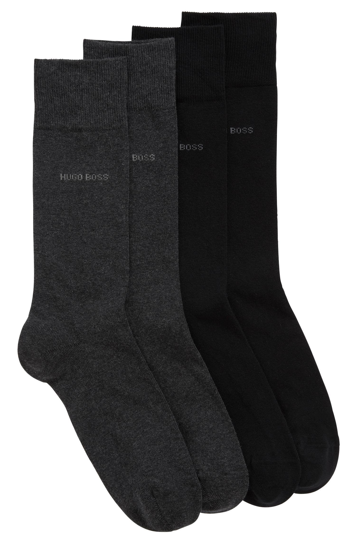 Lot de deux paires de chaussettes en coton mélangé, dans leur pochette de transport, Noir