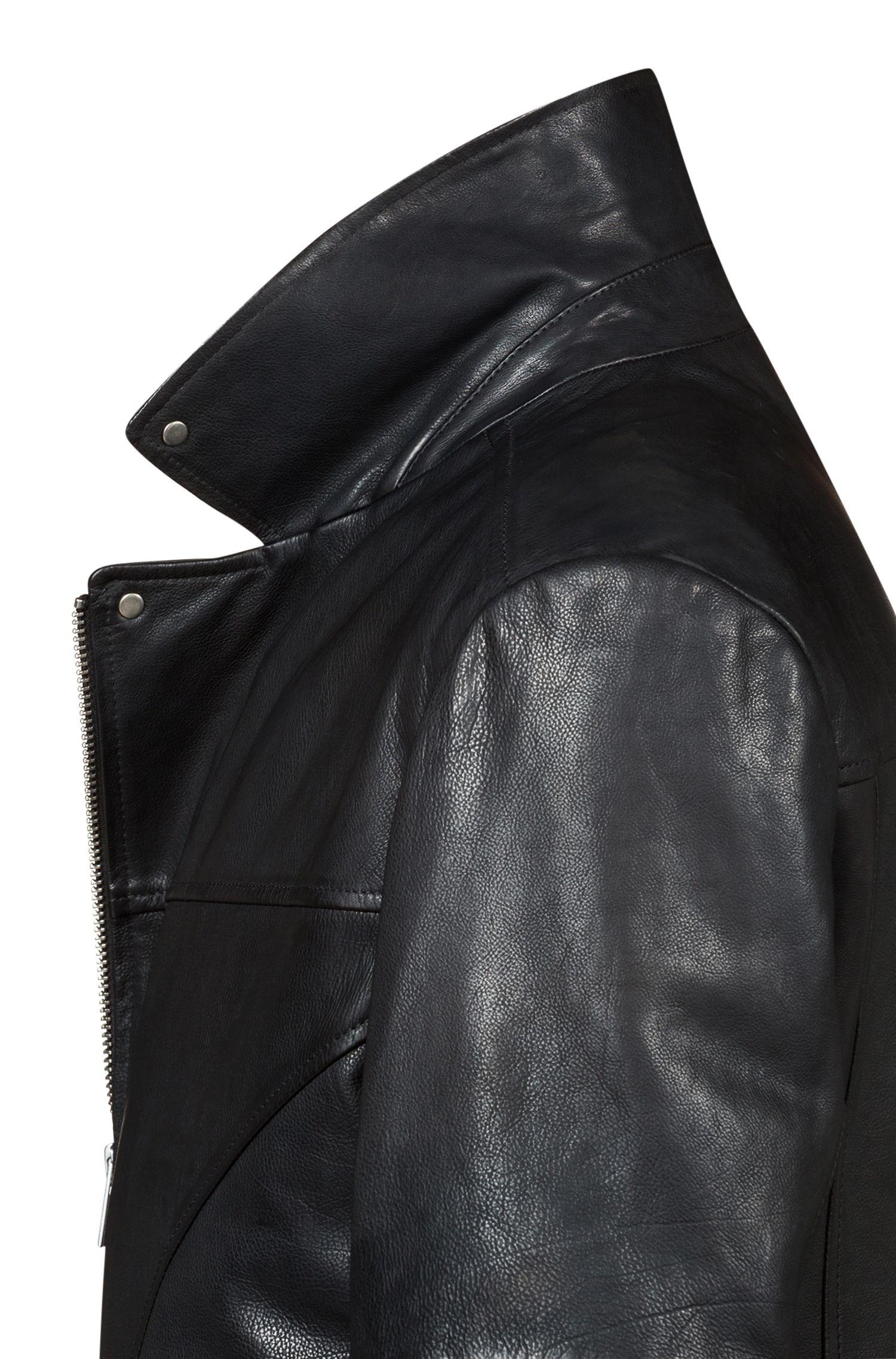 Cazadora biker slim fit en piel de napa de becerro, Negro