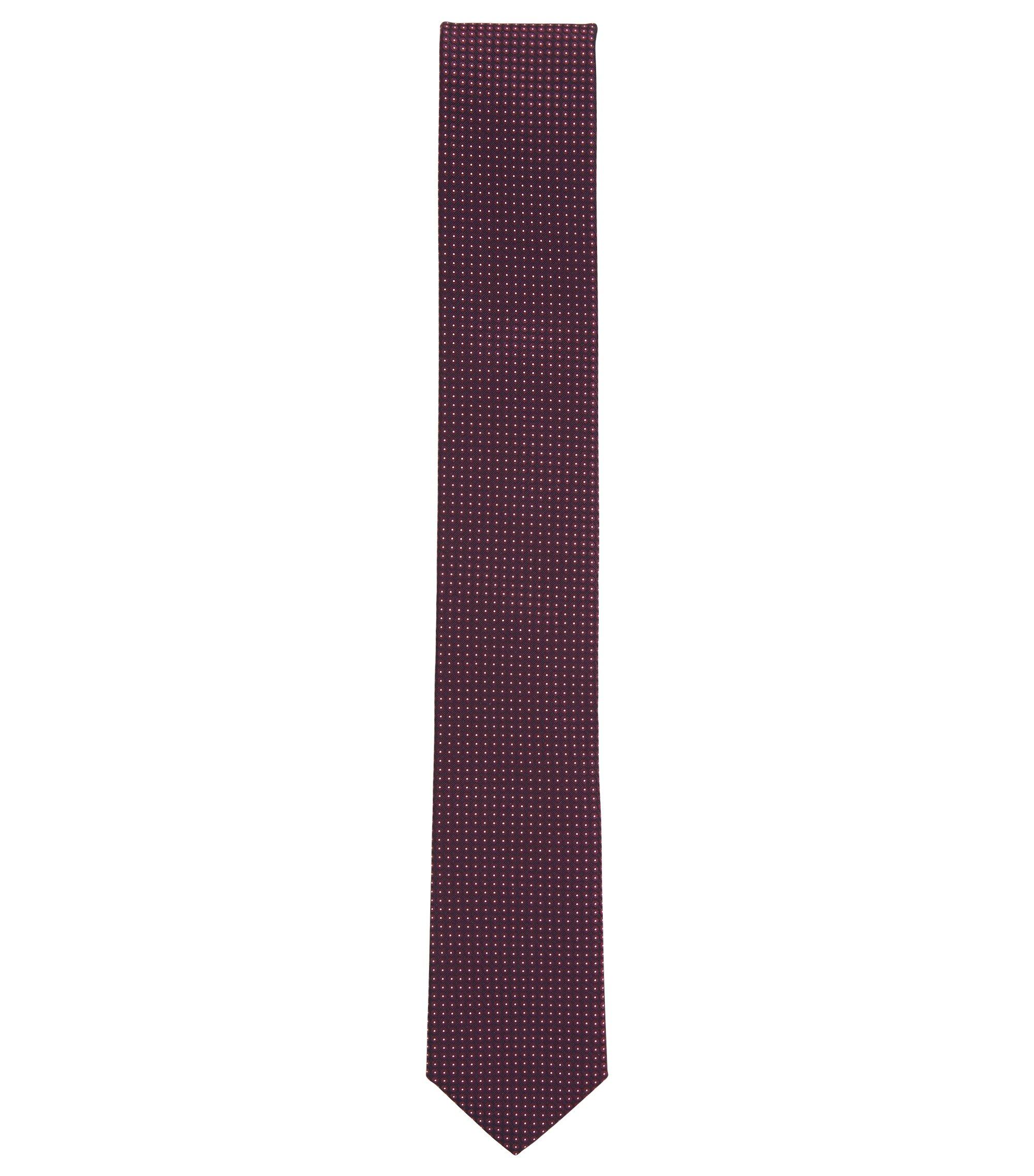 In Italien gefertigte Seidenkrawatte mit filigranem Jacquard-Muster, Dunkelrot