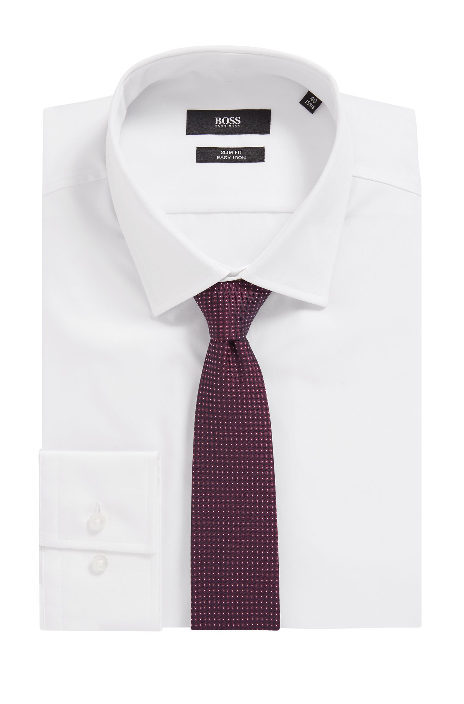 In Italië vervaardigde stropdas in een jacquard van zijde met microdessin, Donkerrood