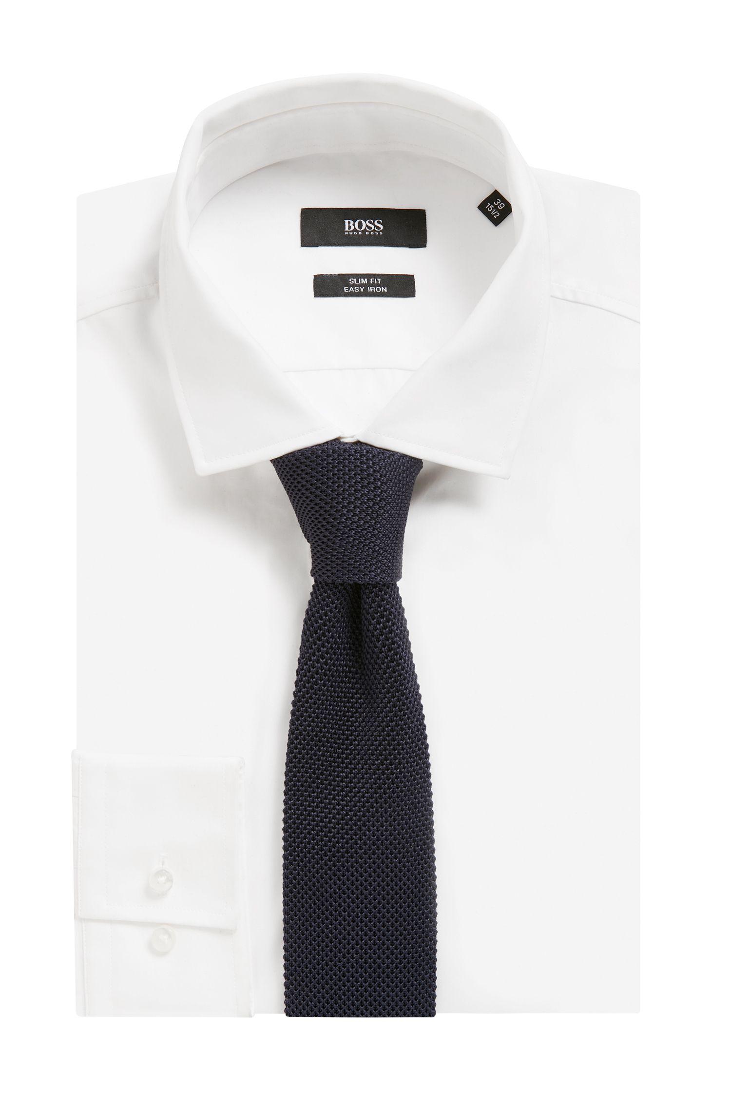 Cravatta in piqué di seta lavorato con estremità quadrata, Blu scuro