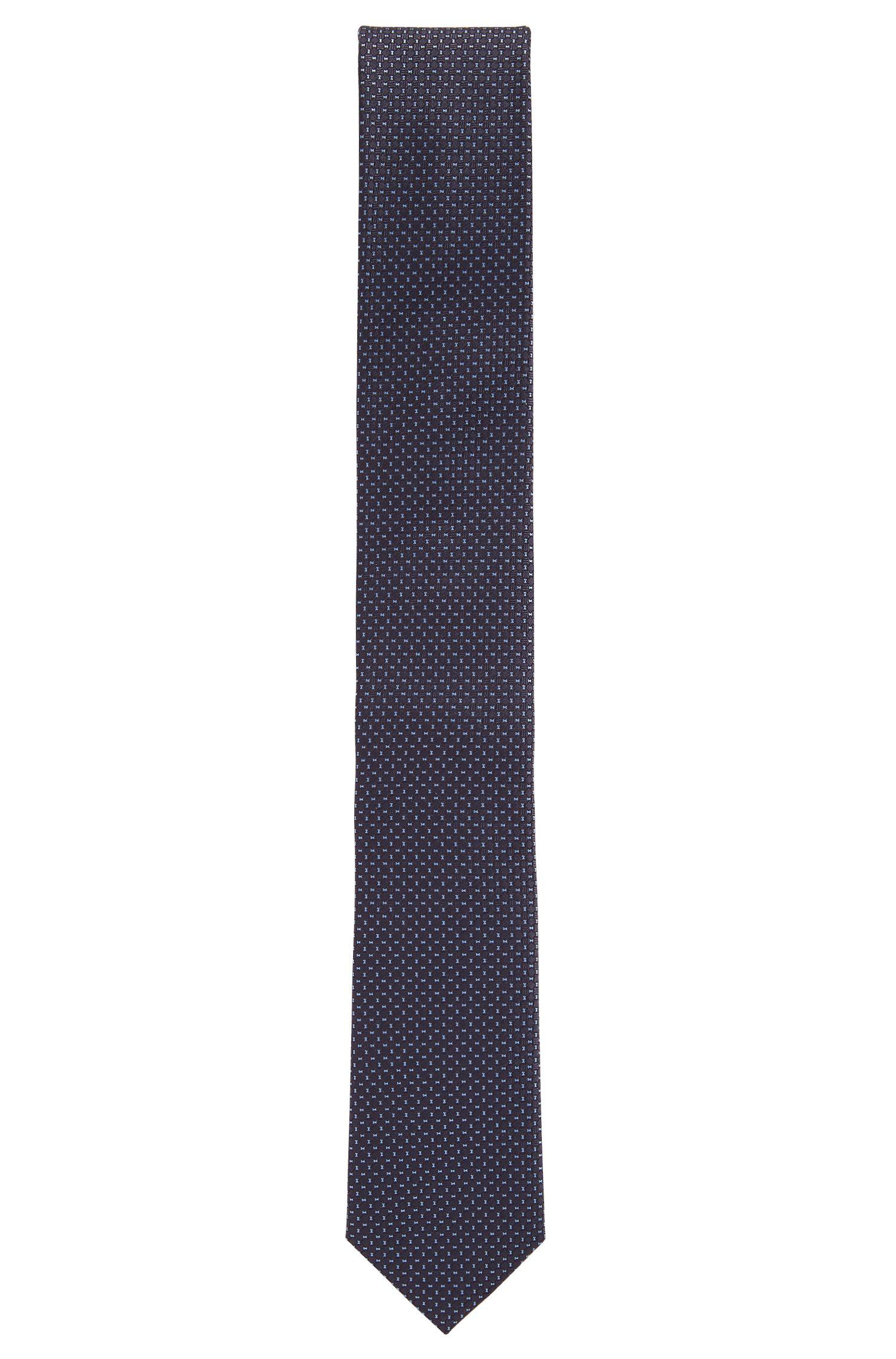 Corbata de seda con microestampado fabricada en Italia, Azul oscuro