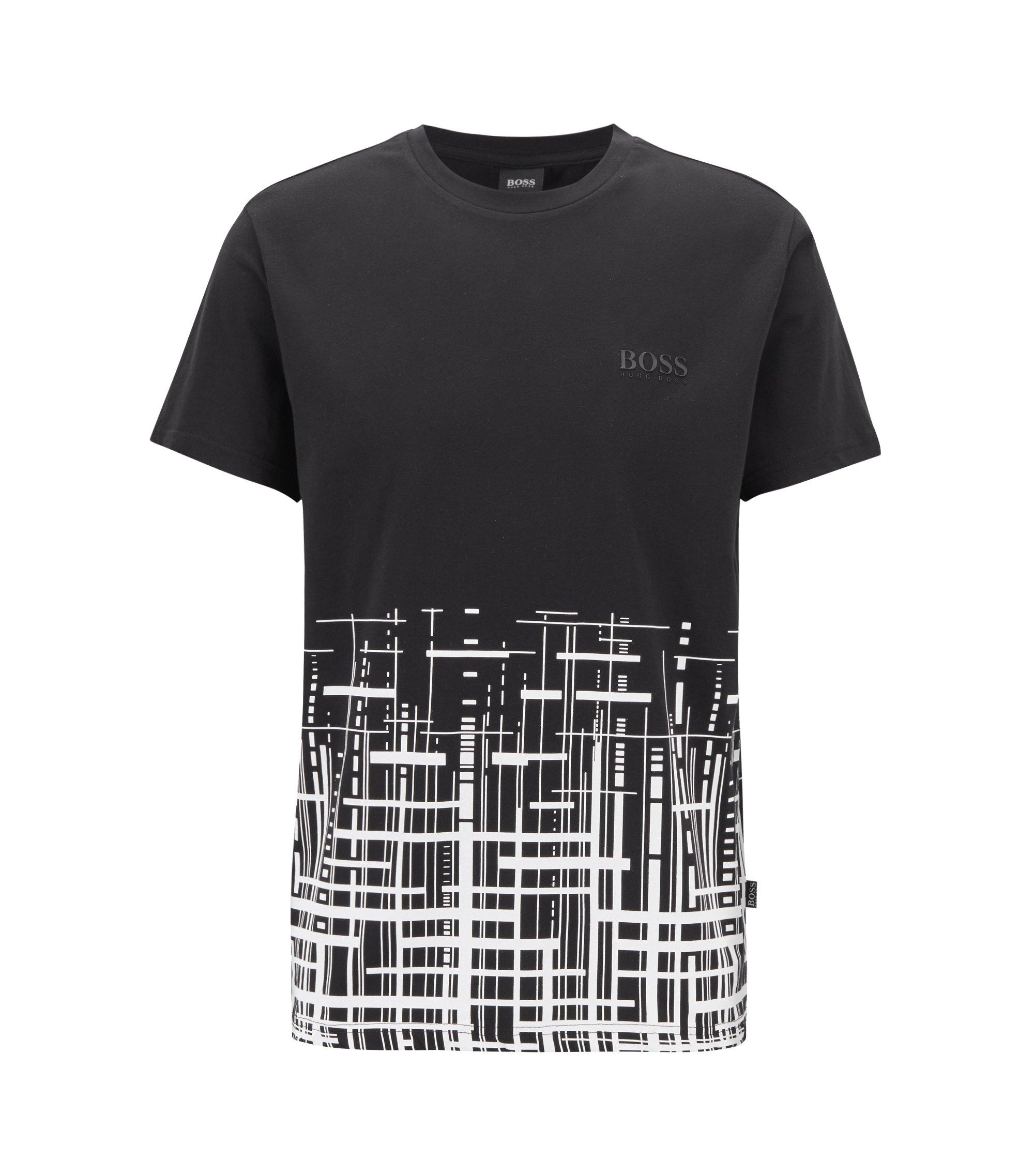 T-shirt de plage Slim Fit en coton avec protection solaire UPF+50, Noir