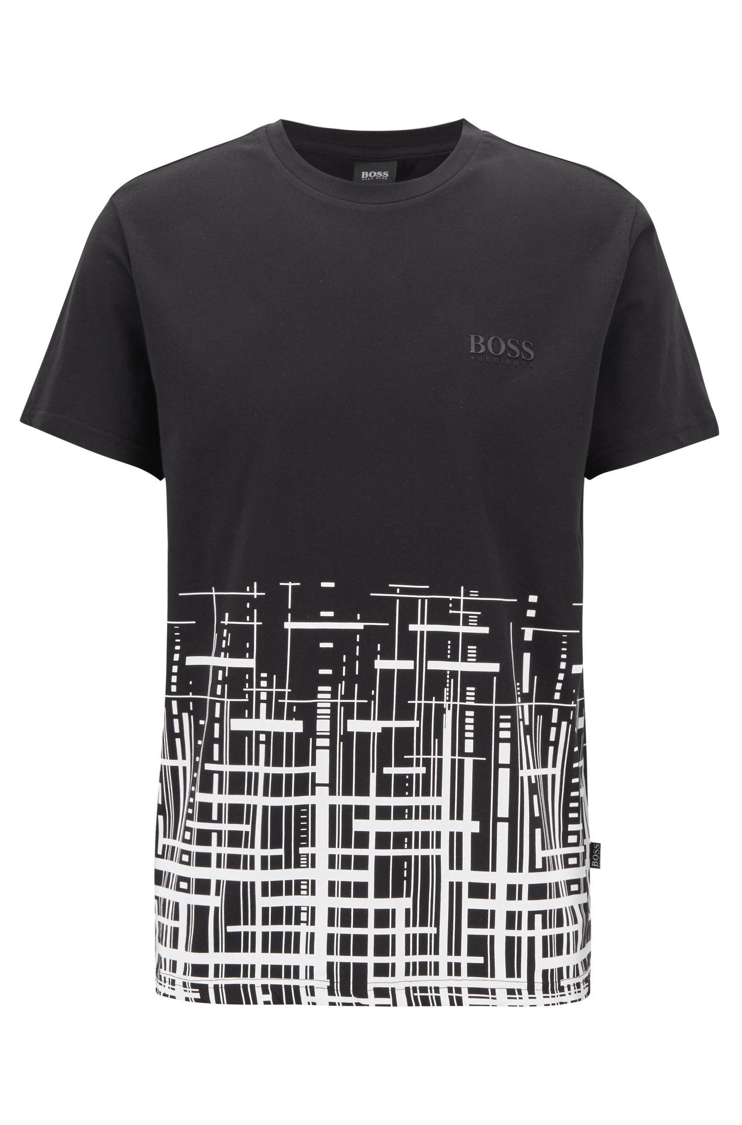 Slim-fit strand-T-shirt van katoen met UPF 50+-finish, Zwart