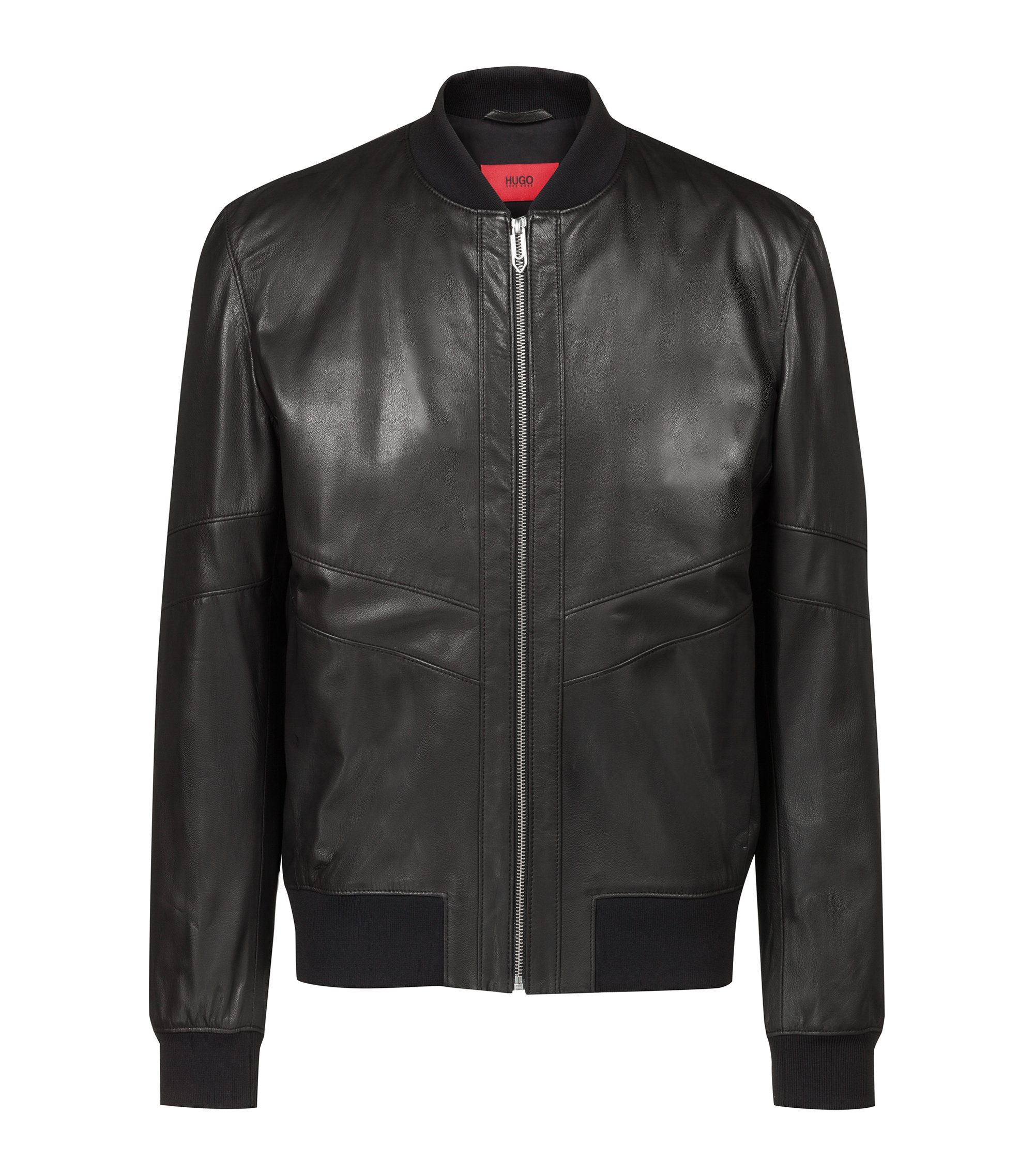Regular-fit bomber jacket in nappa leather, Black