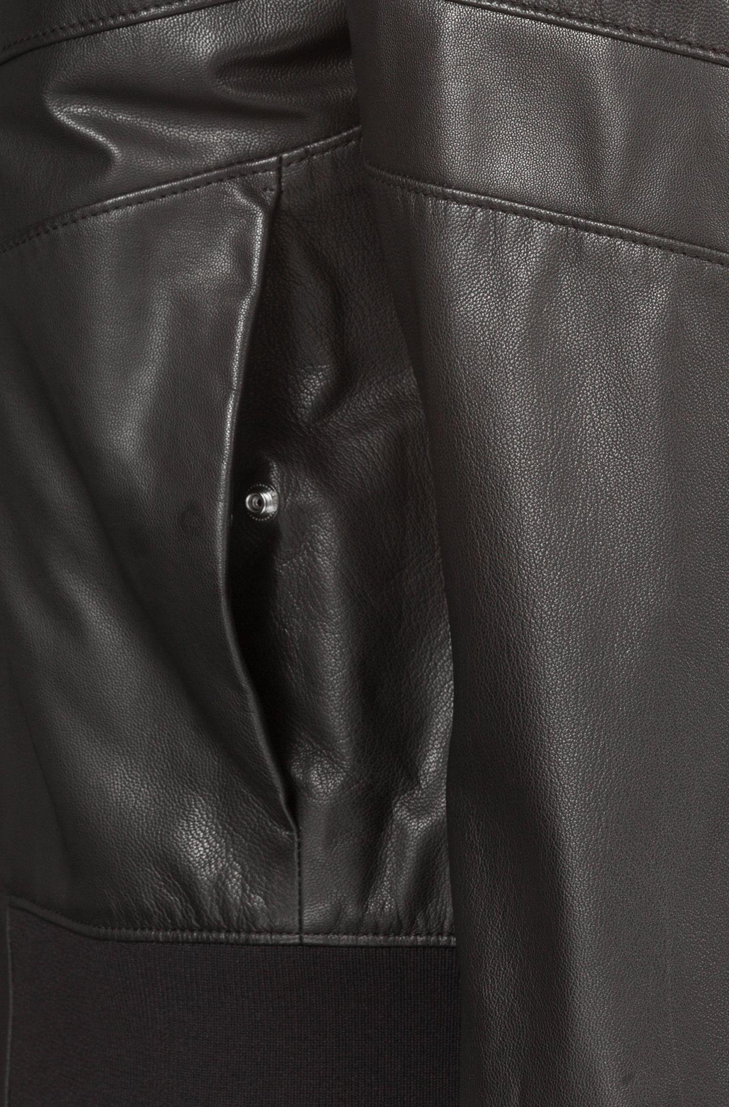 Bomber Regular Fit en cuir nappa, Noir