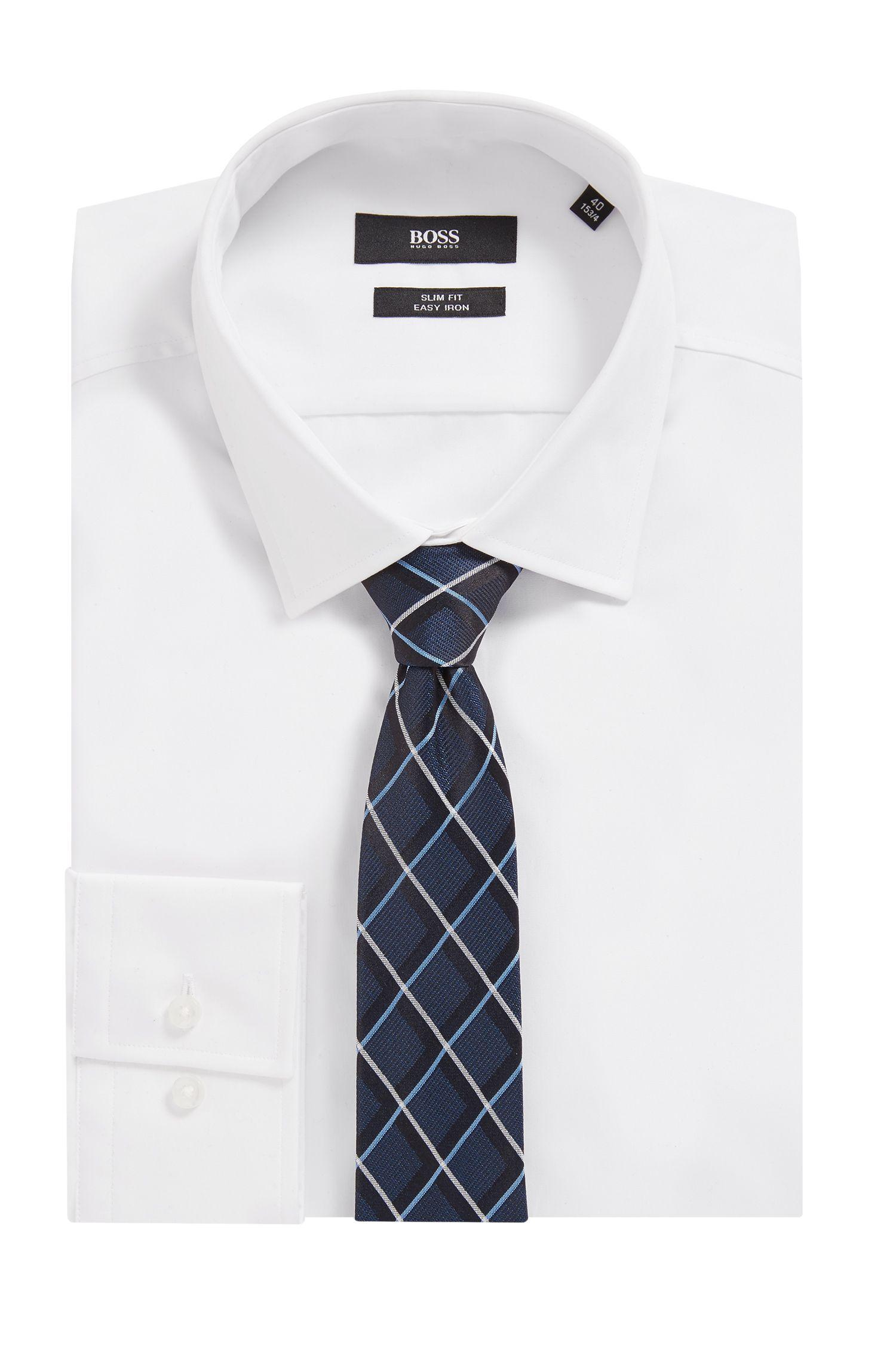 Cravate en jacquard de soie à losanges, Bleu vif