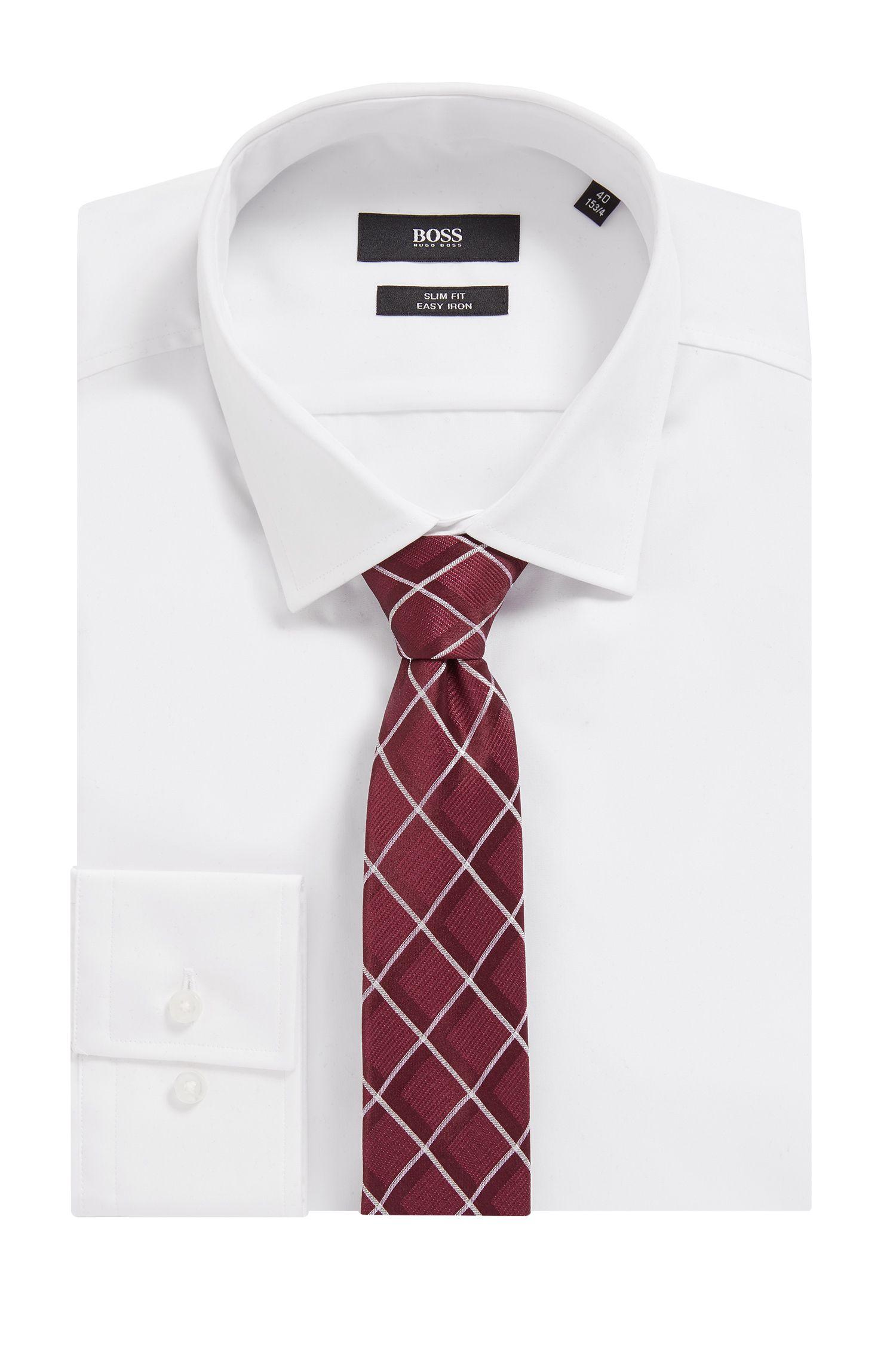 Silk-jacquard tie with diamond check, Dark pink