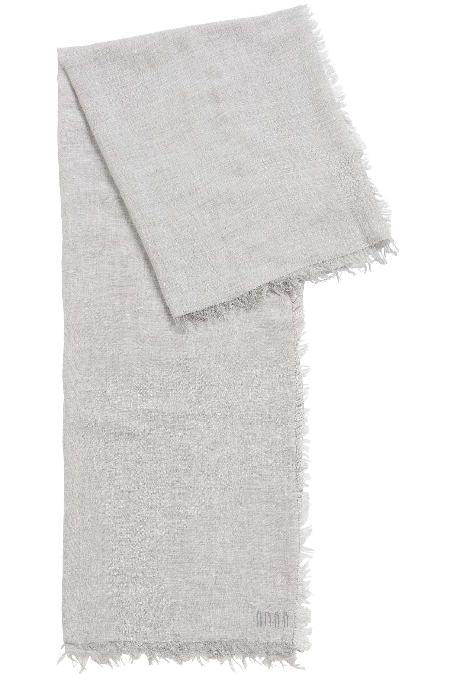 Lightweight melange scarf with printed logo, Silver
