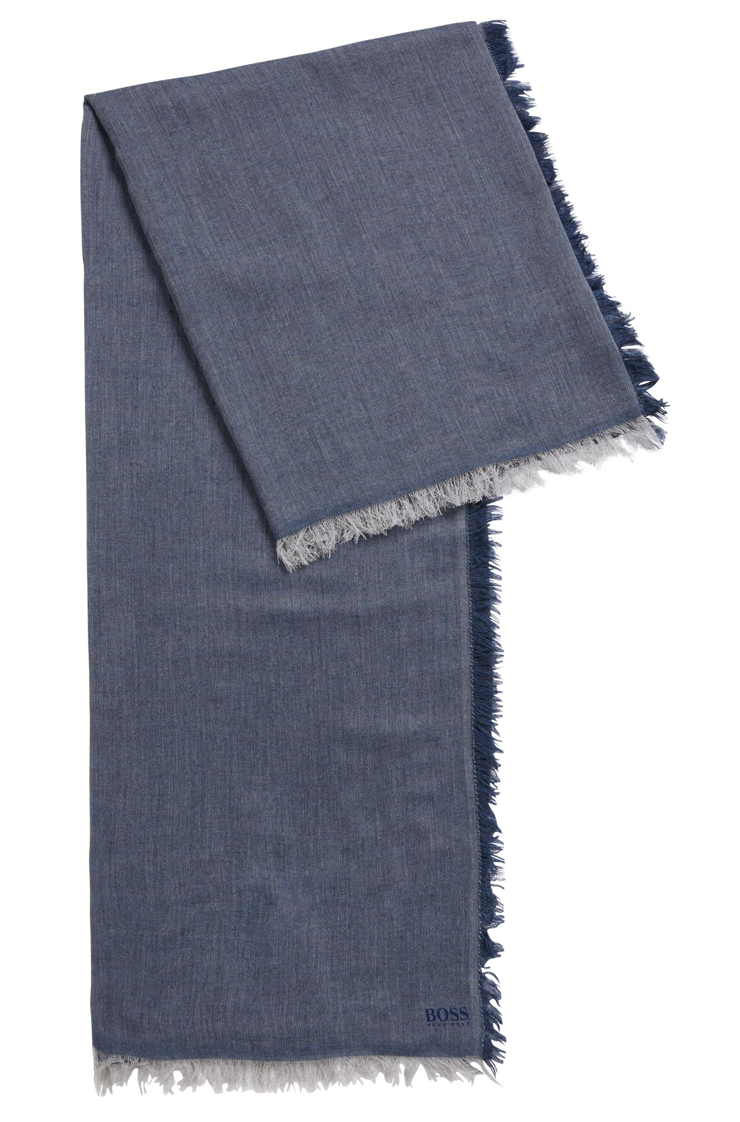 Lightweight melange scarf with printed logo, Blue