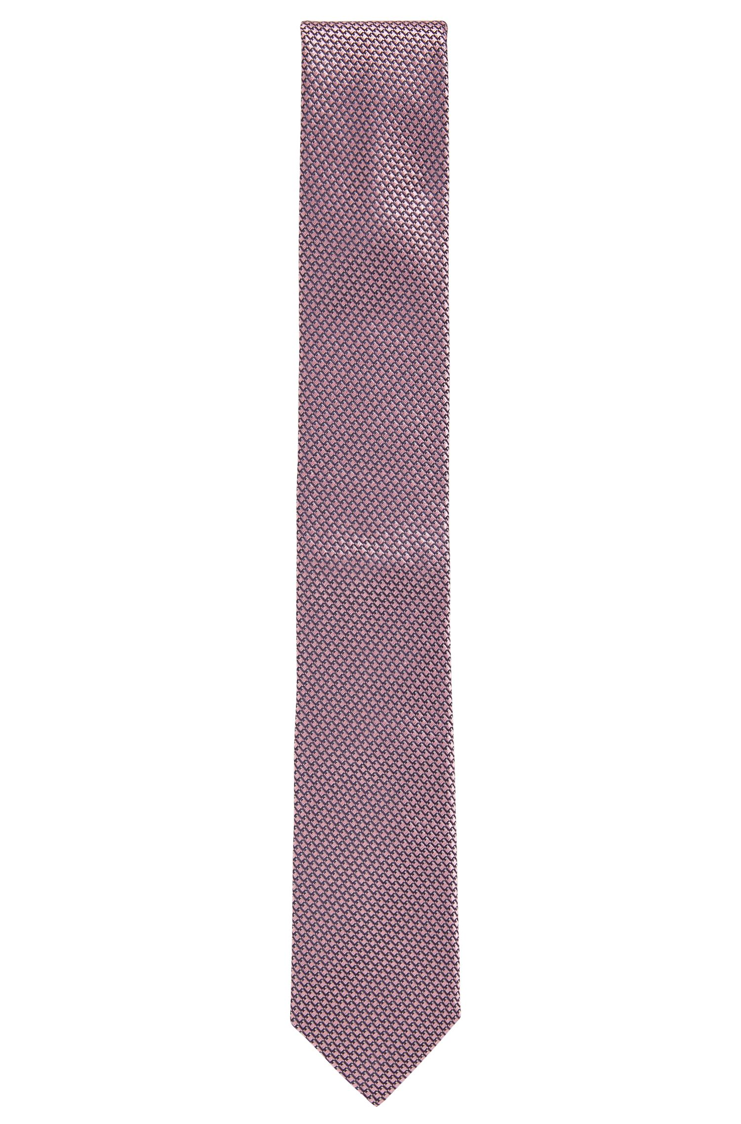 Italian-made patterned tie in pure silk, light pink