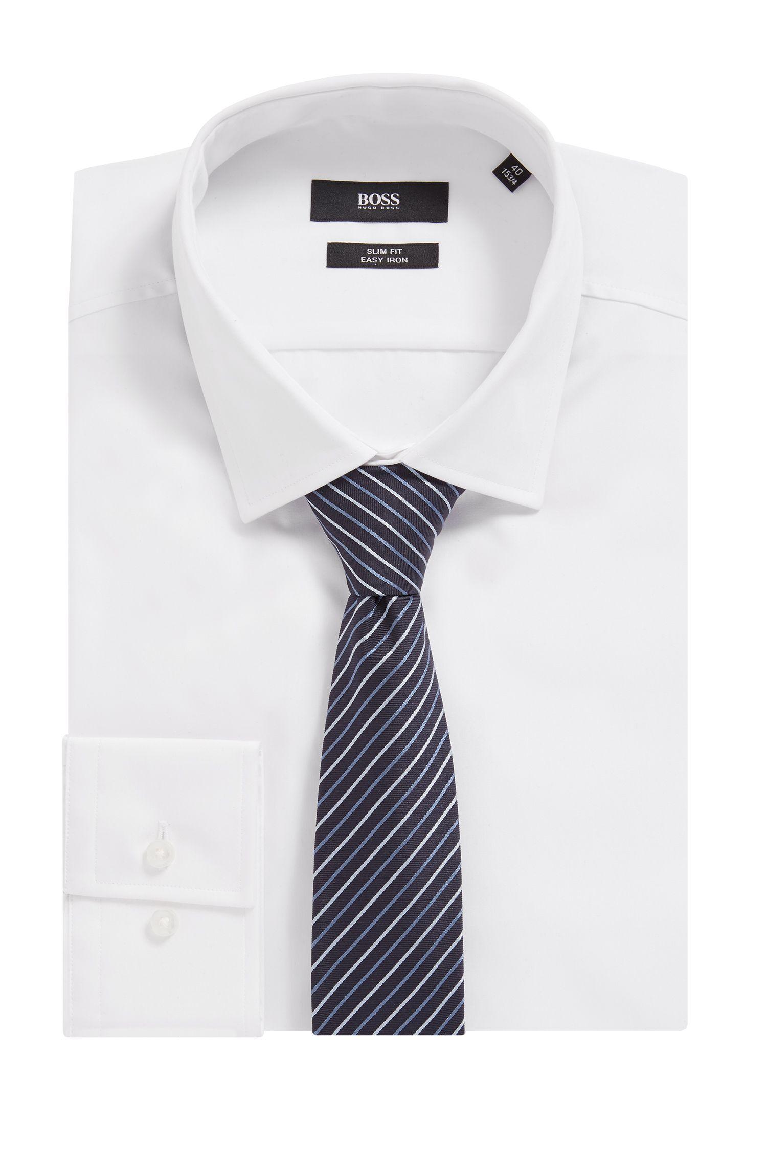Diagonal striped tie in silk jacquard, Patterned