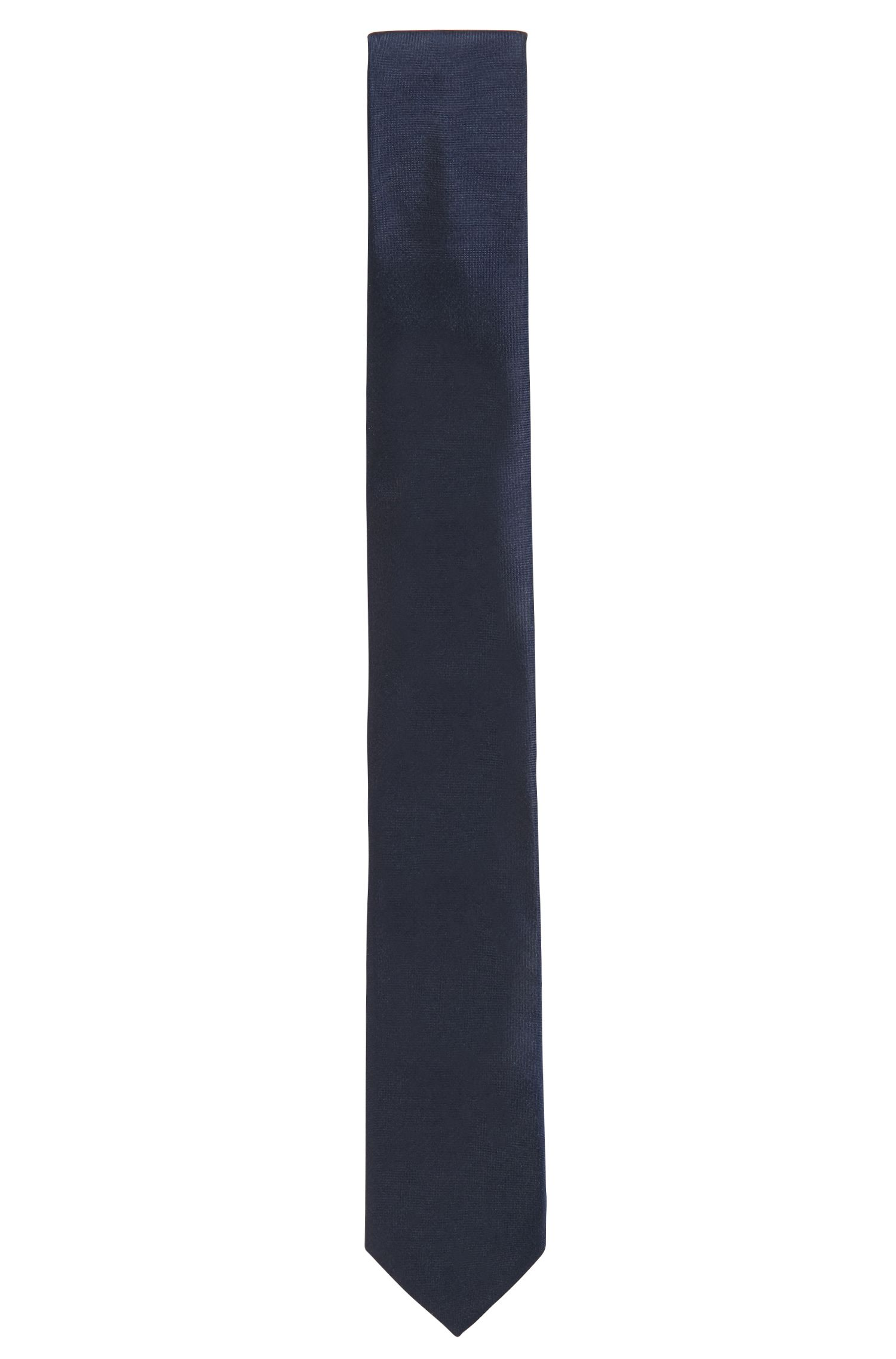 Italian-crafted tie in solid silk, Dark Blue