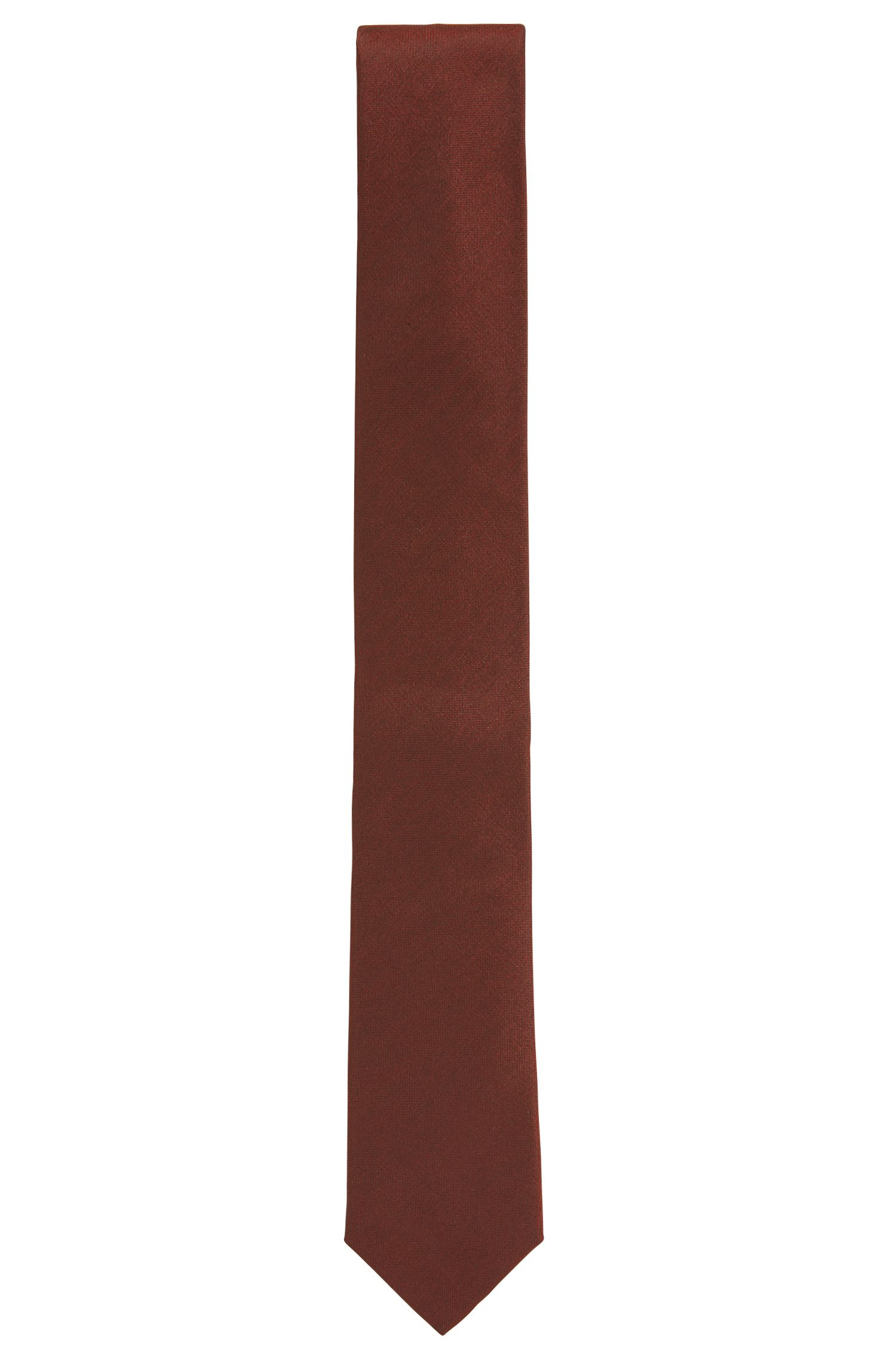 Italian-crafted tie in solid silk, Dark Red
