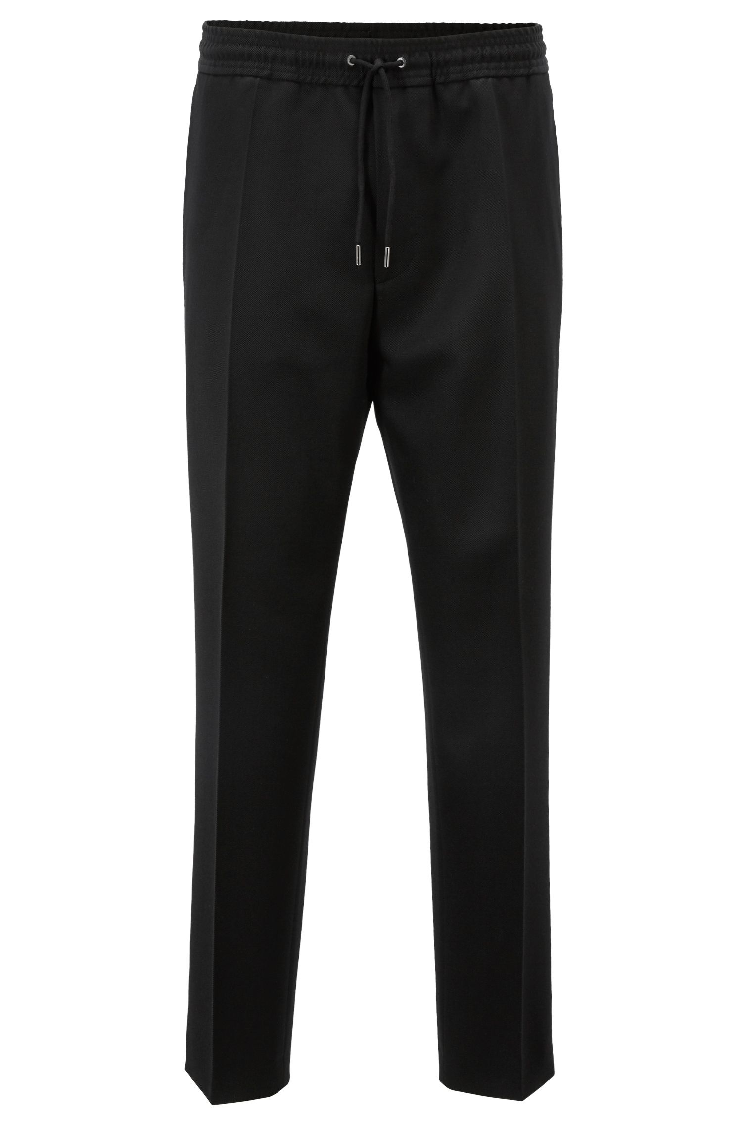 Slim-fit double-breasted tuxedo with silk lapels, Black