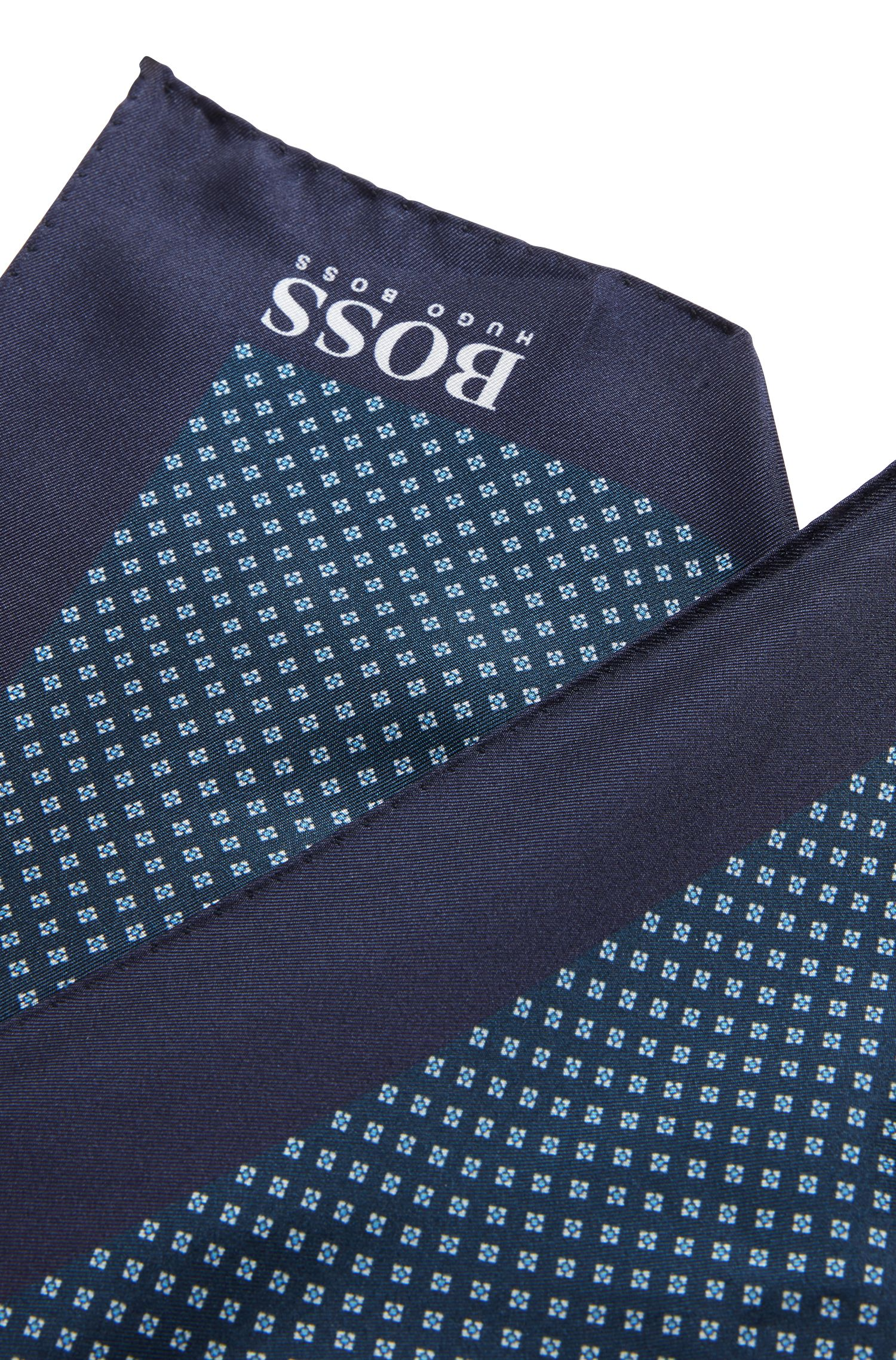Patterned pocket square in silk, Patterned